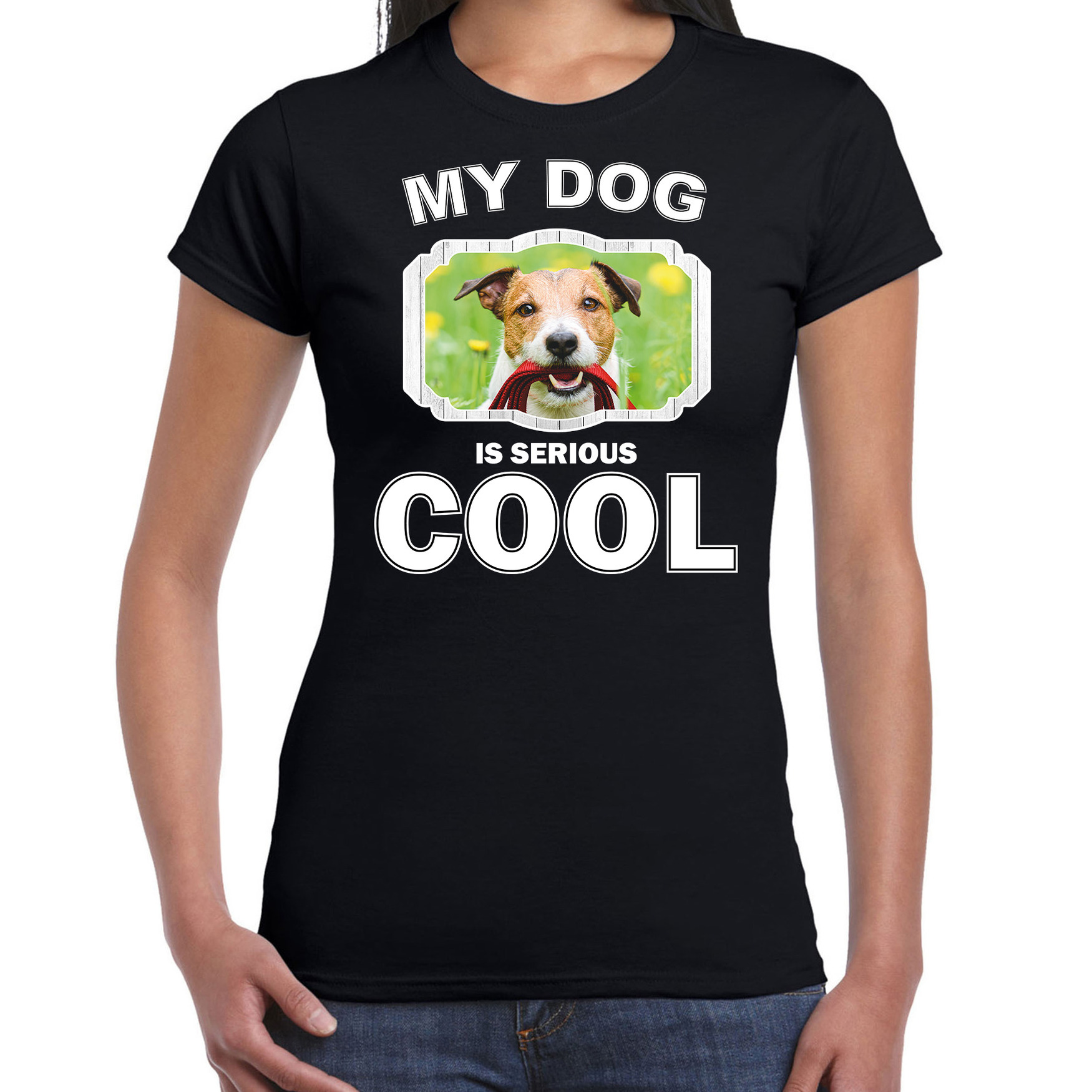 Honden liefhebber shirt Jack russel my dog is serious cool zwart voor dames