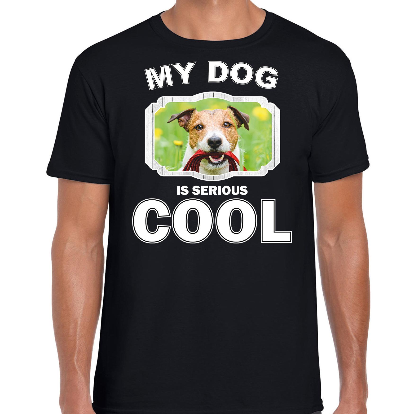 Honden liefhebber shirt Jack russel my dog is serious cool zwart voor heren