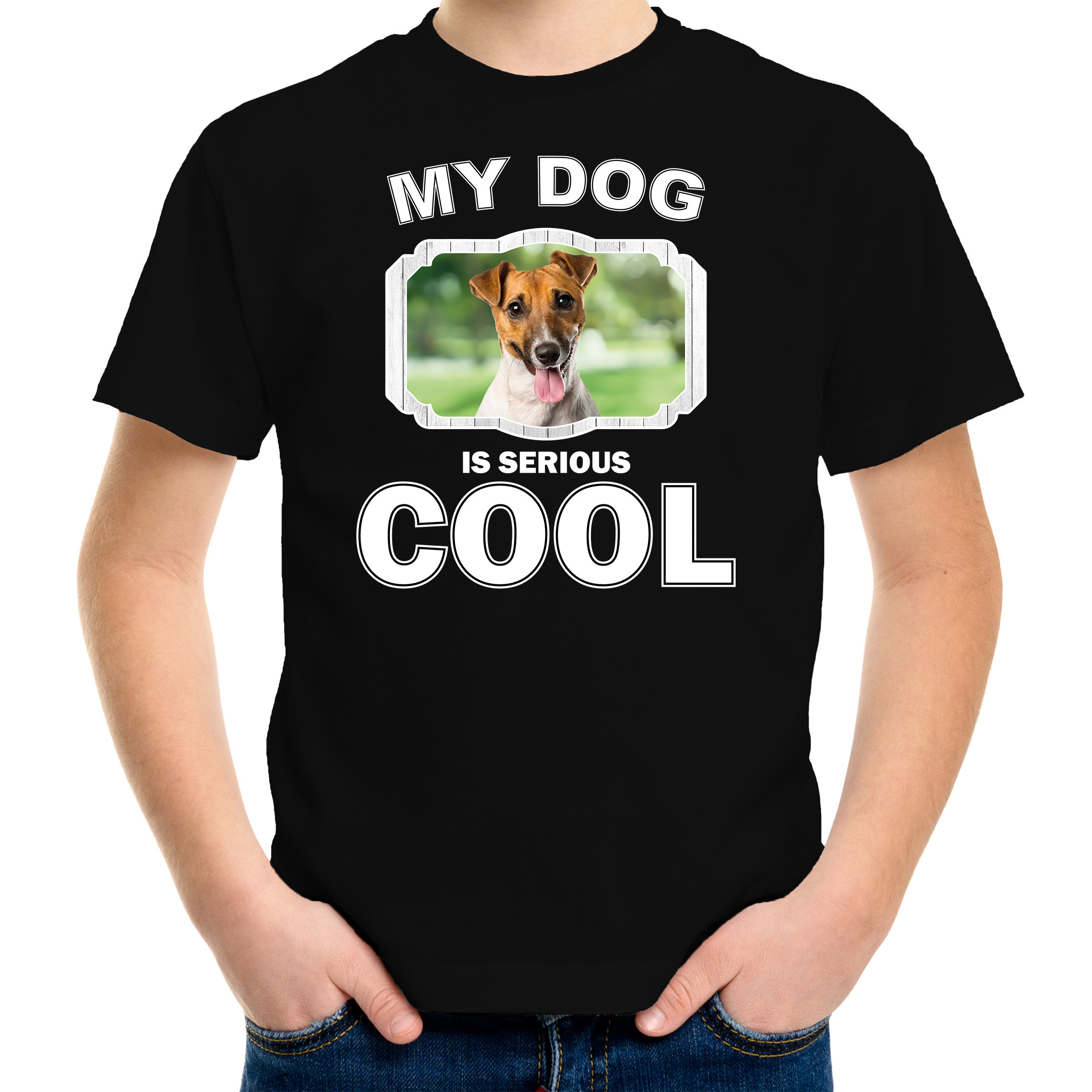 Honden liefhebber shirt Jack russel my dog is serious cool zwart voor kinderen