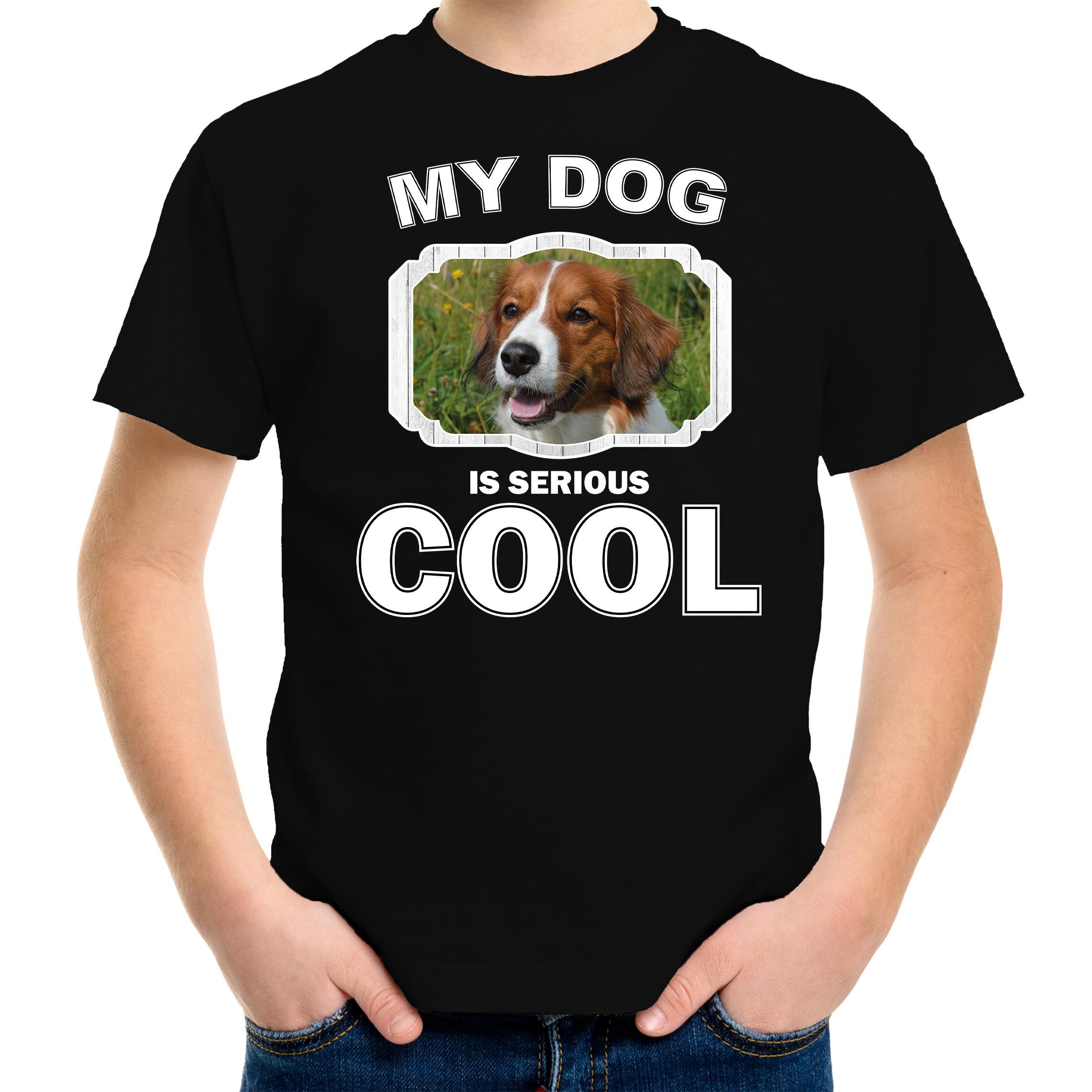 Honden liefhebber shirt Kooiker my dog is serious cool zwart voor kinderen