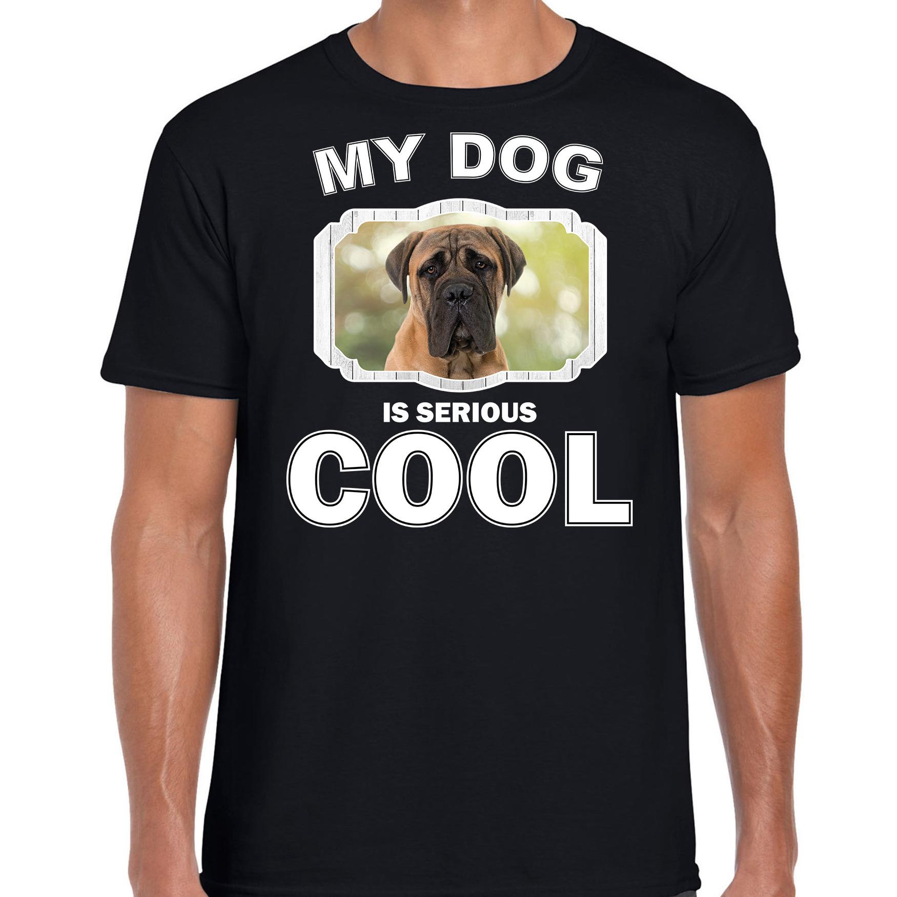 Honden liefhebber shirt Mastiff my dog is serious cool zwart voor heren