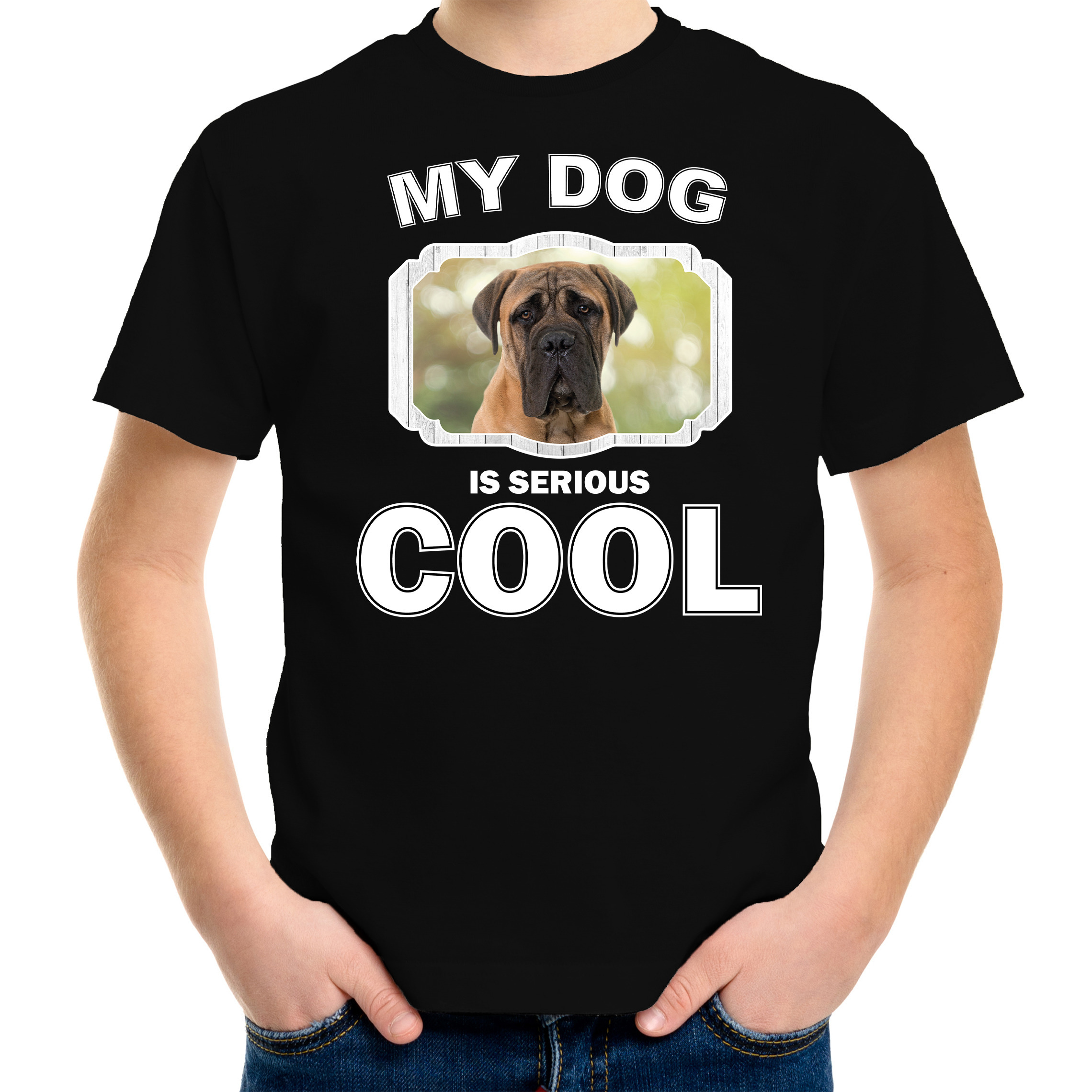 Honden liefhebber shirt Mastiff my dog is serious cool zwart voor kinderen