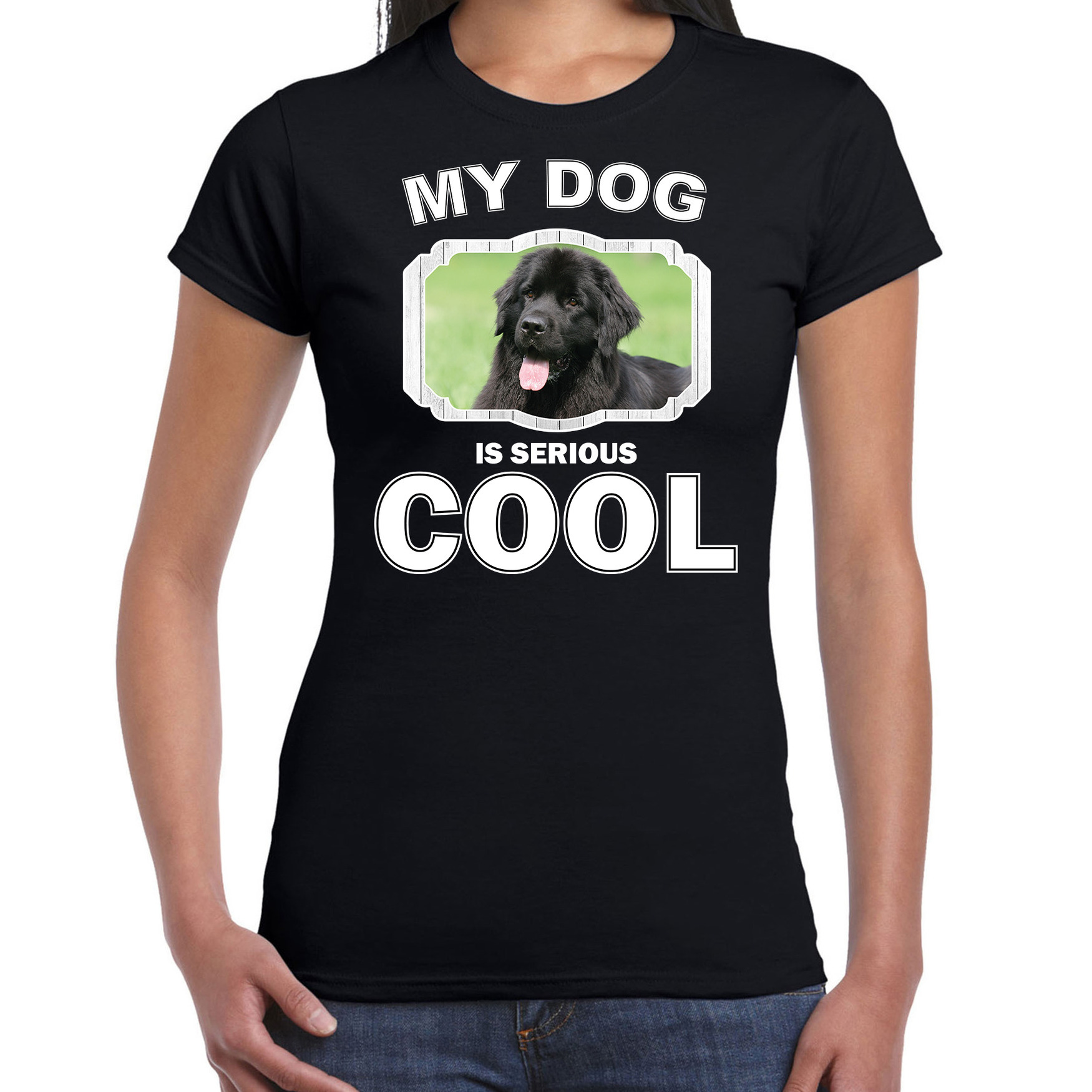 Honden liefhebber shirt Newfoundlander my dog is serious cool zwart voor dames