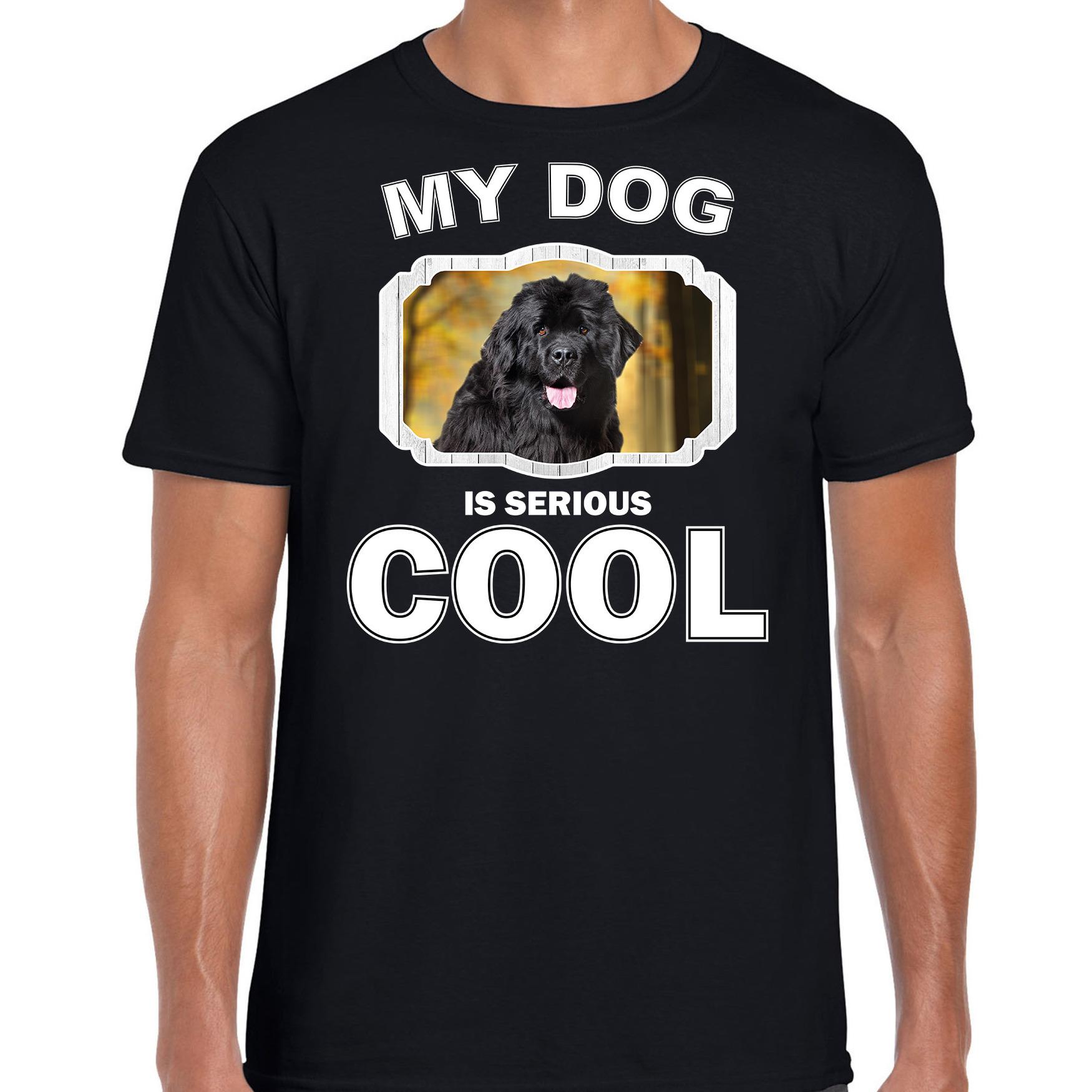 Honden liefhebber shirt Newfoundlander my dog is serious cool zwart voor heren