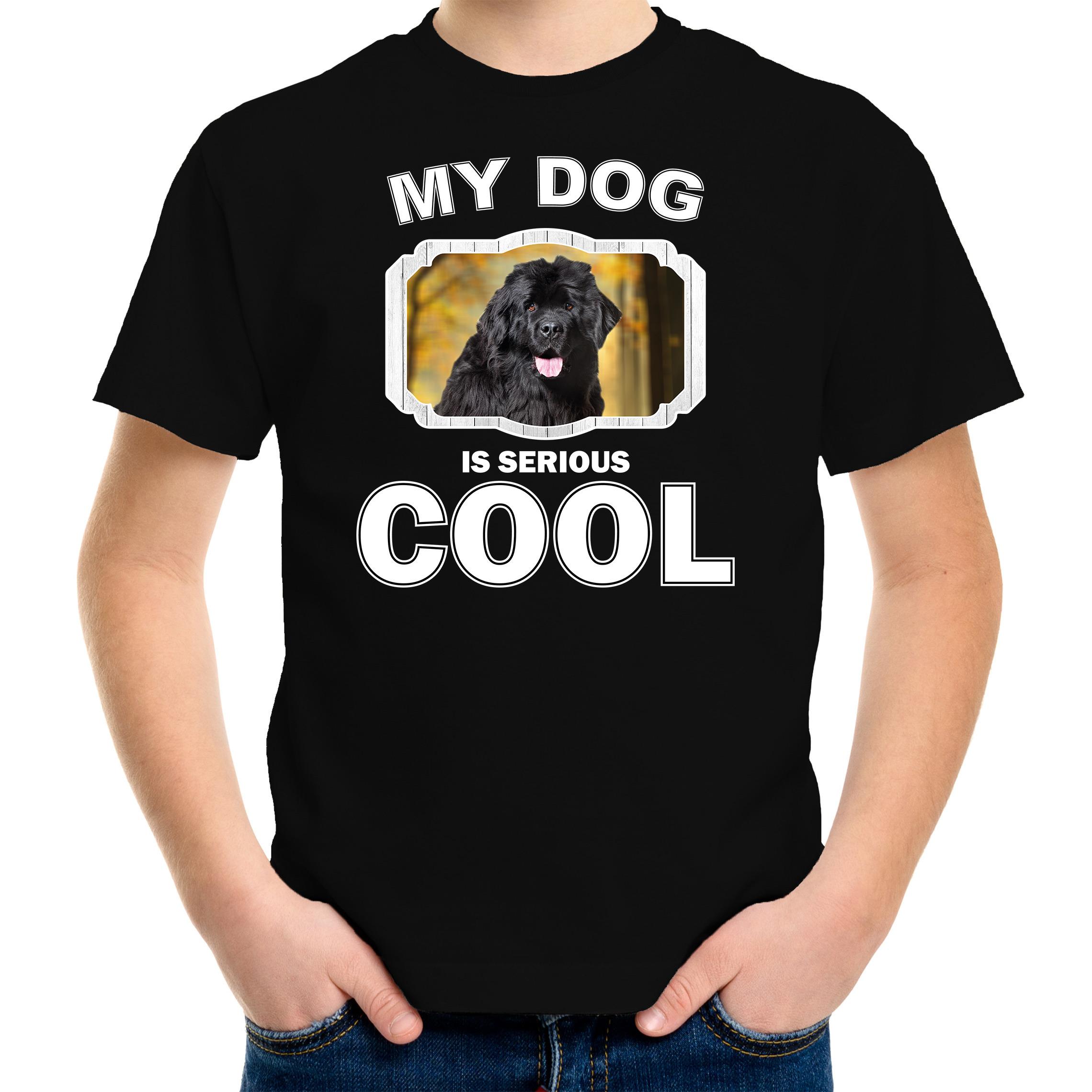 Honden liefhebber shirt Newfoundlander my dog is serious cool zwart voor kinderen