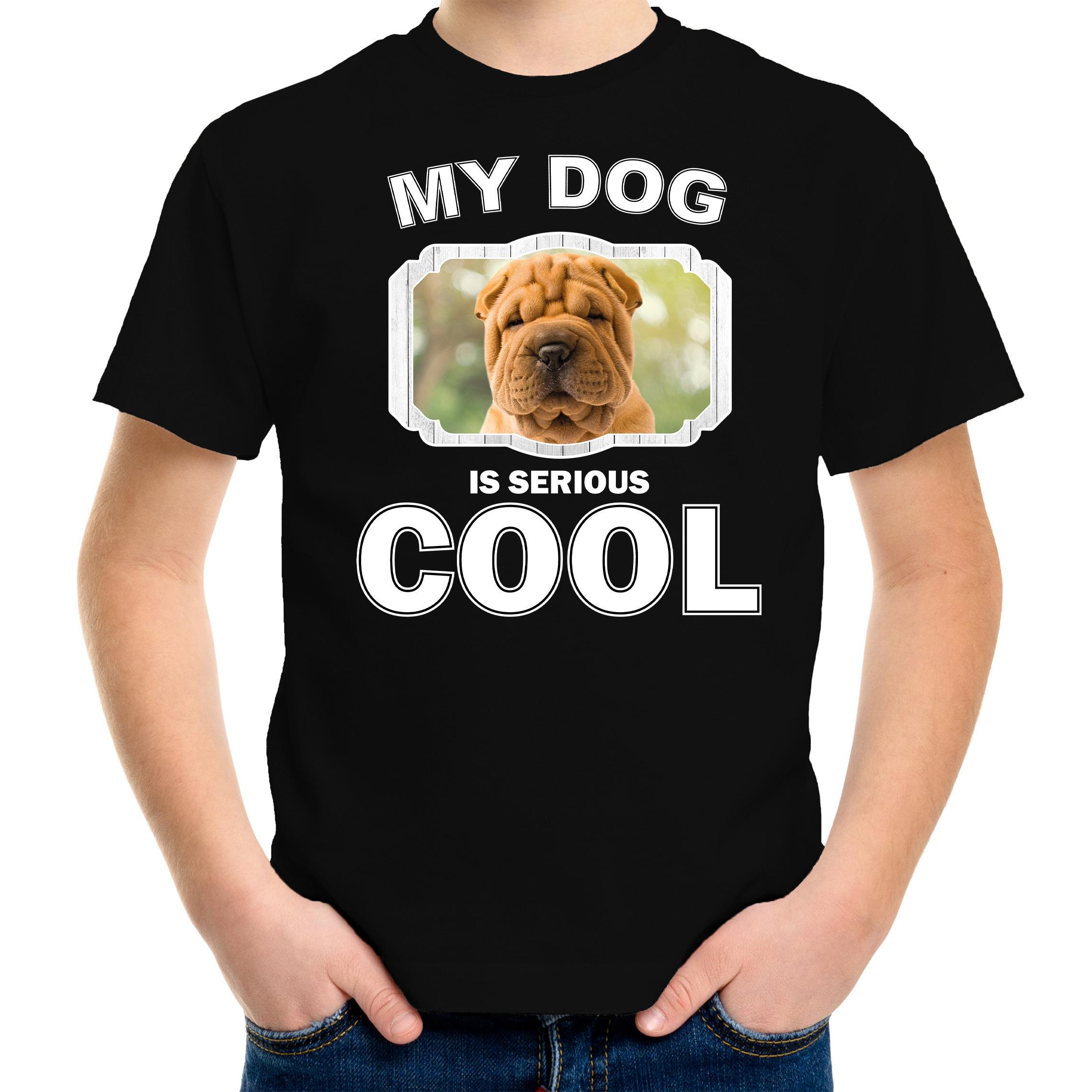 Honden liefhebber shirt Shar pei my dog is serious cool zwart voor kinderen