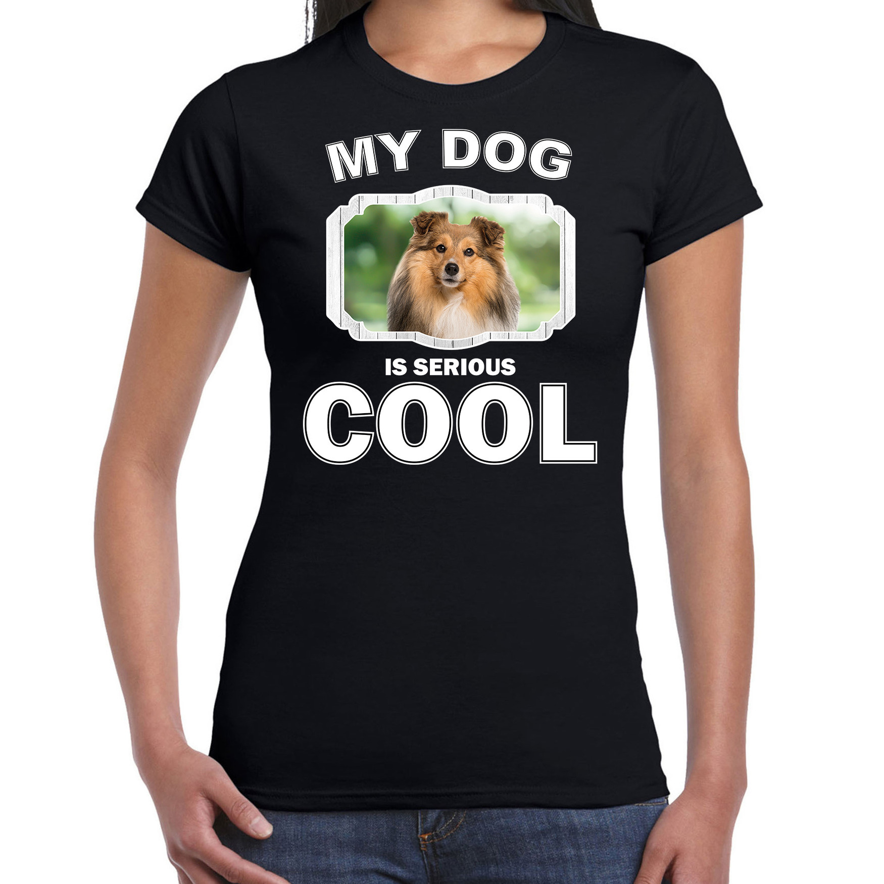 Honden liefhebber shirt Sheltie my dog is serious cool zwart voor dames