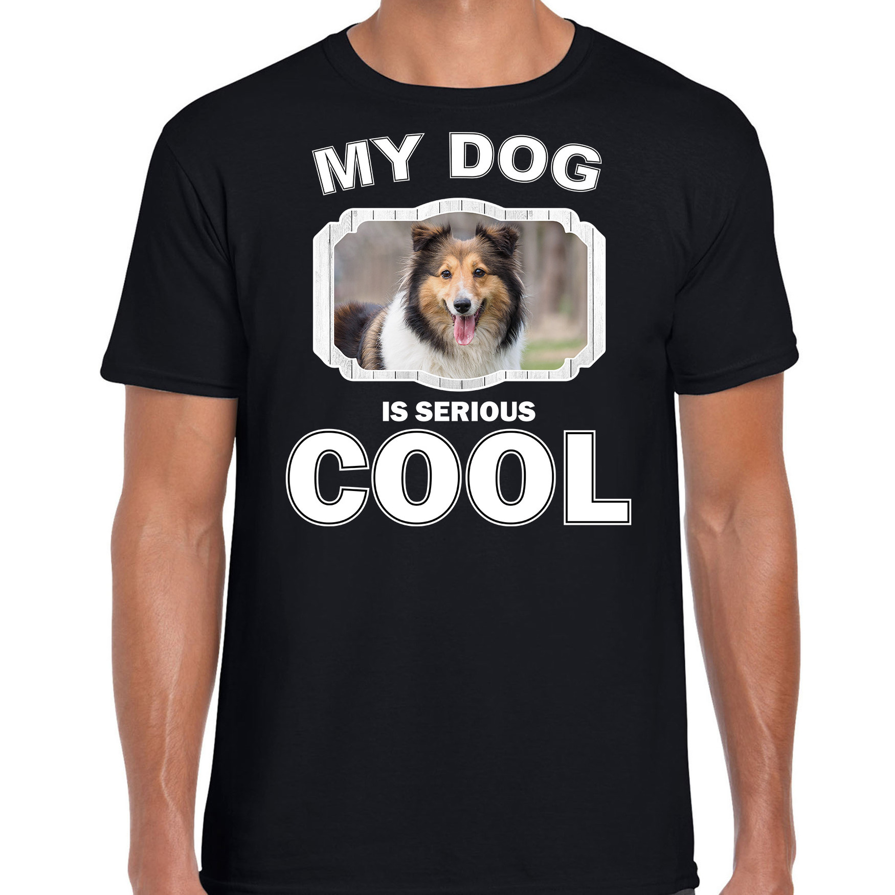 Honden liefhebber shirt Sheltie my dog is serious cool zwart voor heren