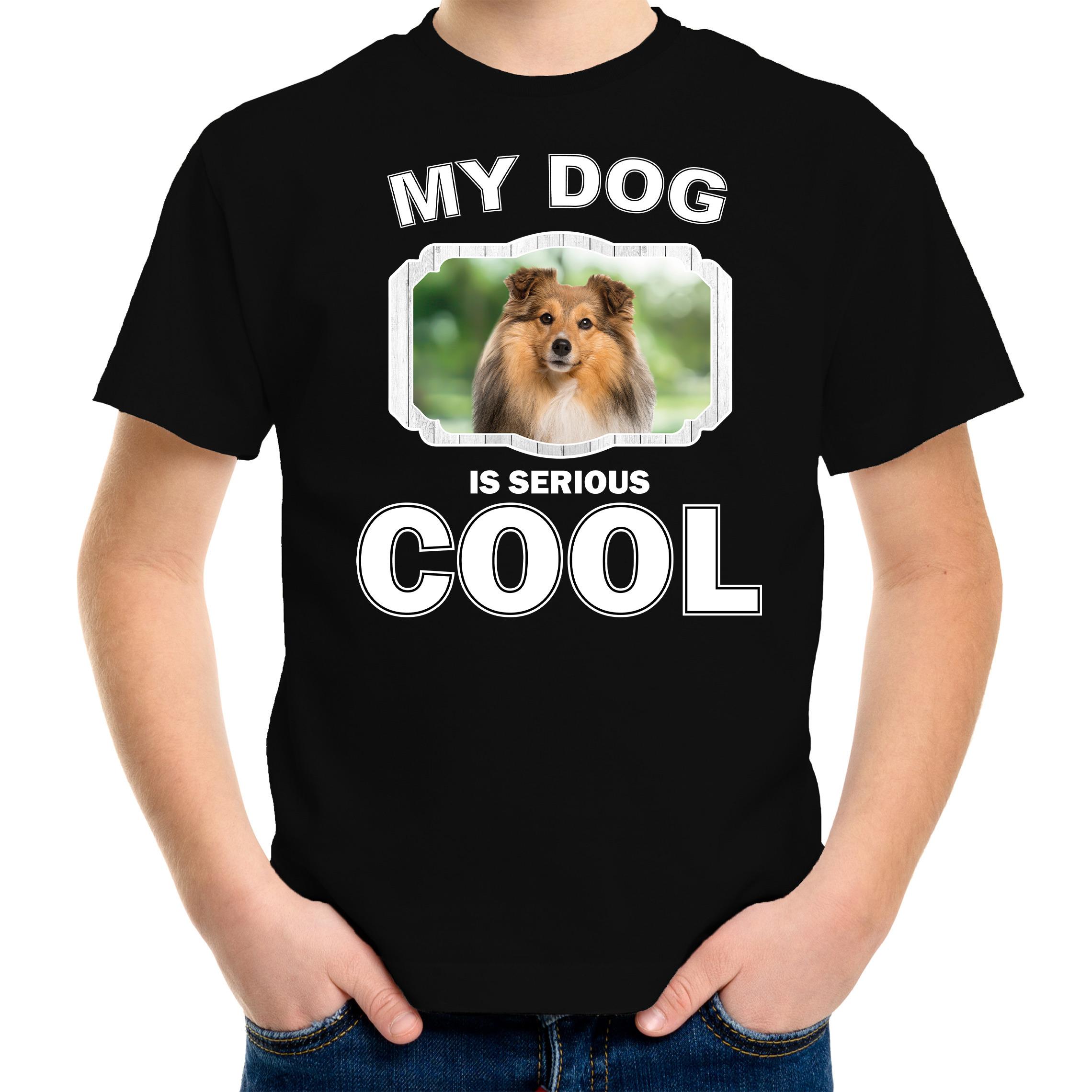 Honden liefhebber shirt Sheltie my dog is serious cool zwart voor kinderen