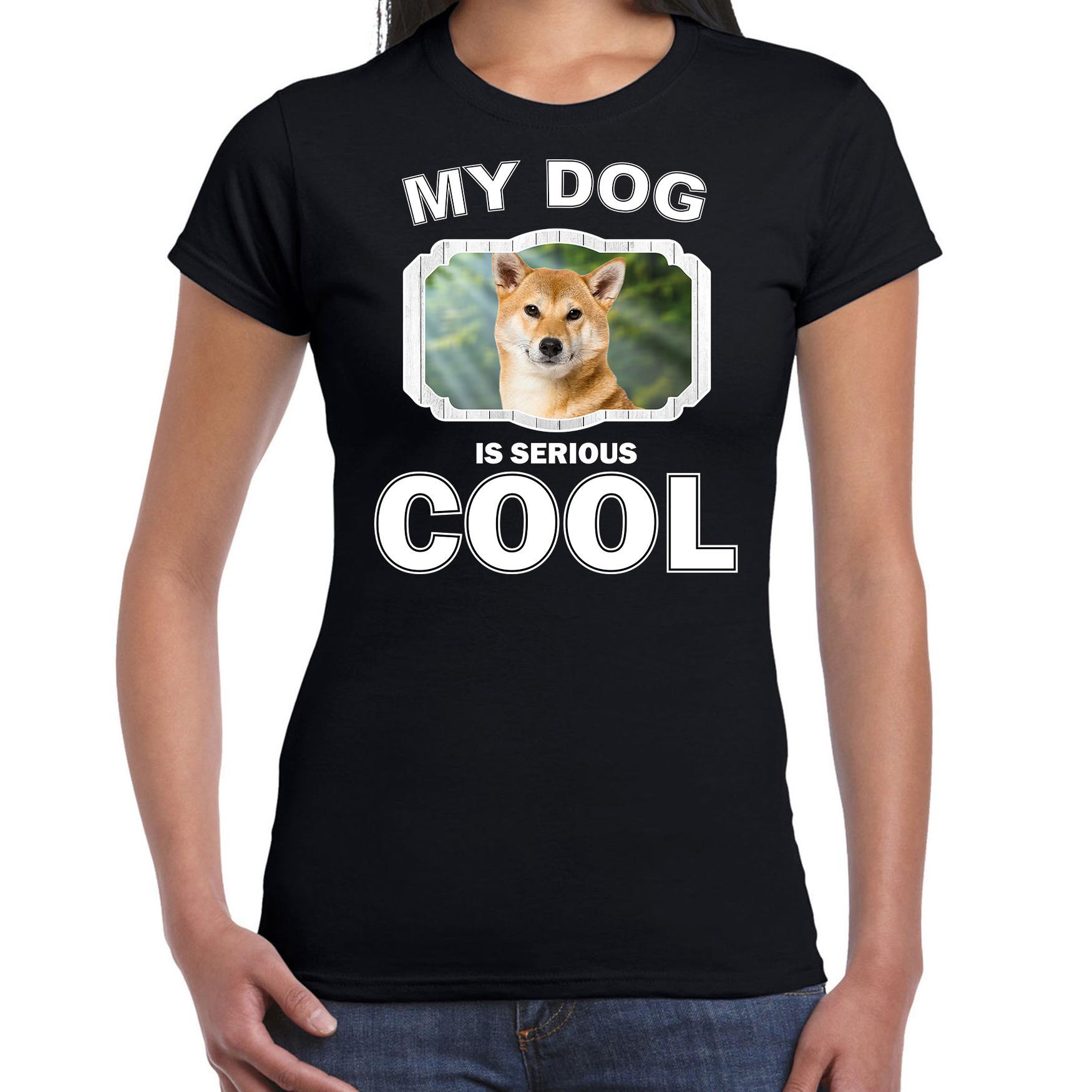 Honden liefhebber shirt Shiba inu my dog is serious cool zwart voor dames