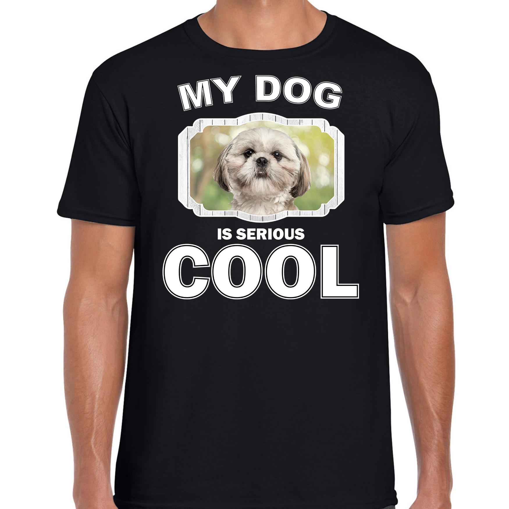 Honden liefhebber shirt Shih tzu my dog is serious cool zwart voor heren