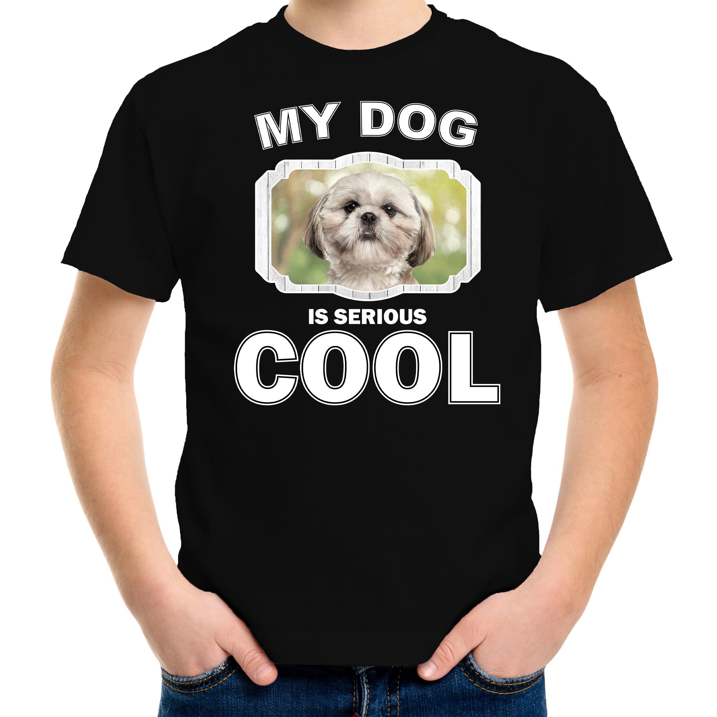 Honden liefhebber shirt Shih tzu my dog is serious cool zwart voor kinderen