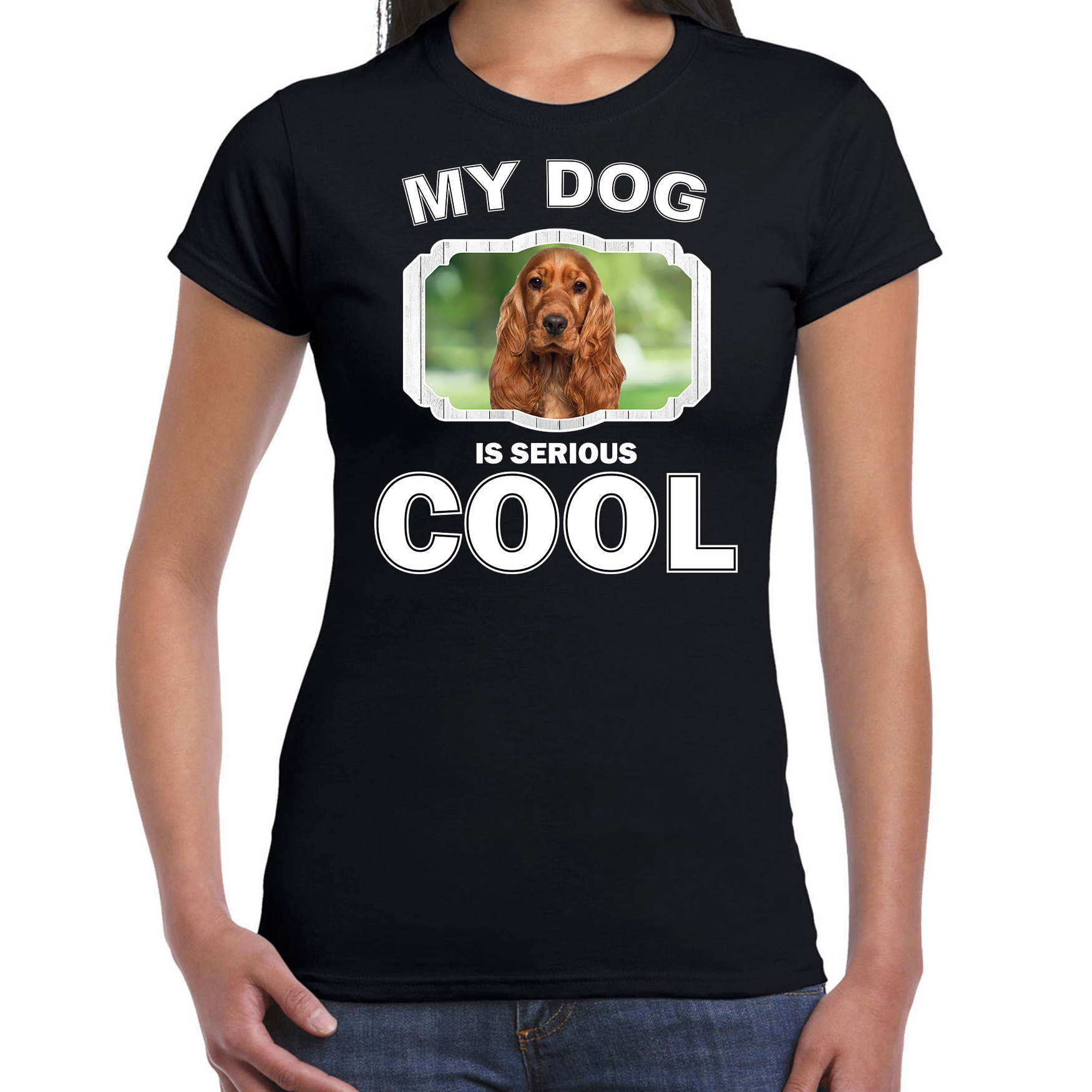 Honden liefhebber shirt Spaniel my dog is serious cool zwart voor dames