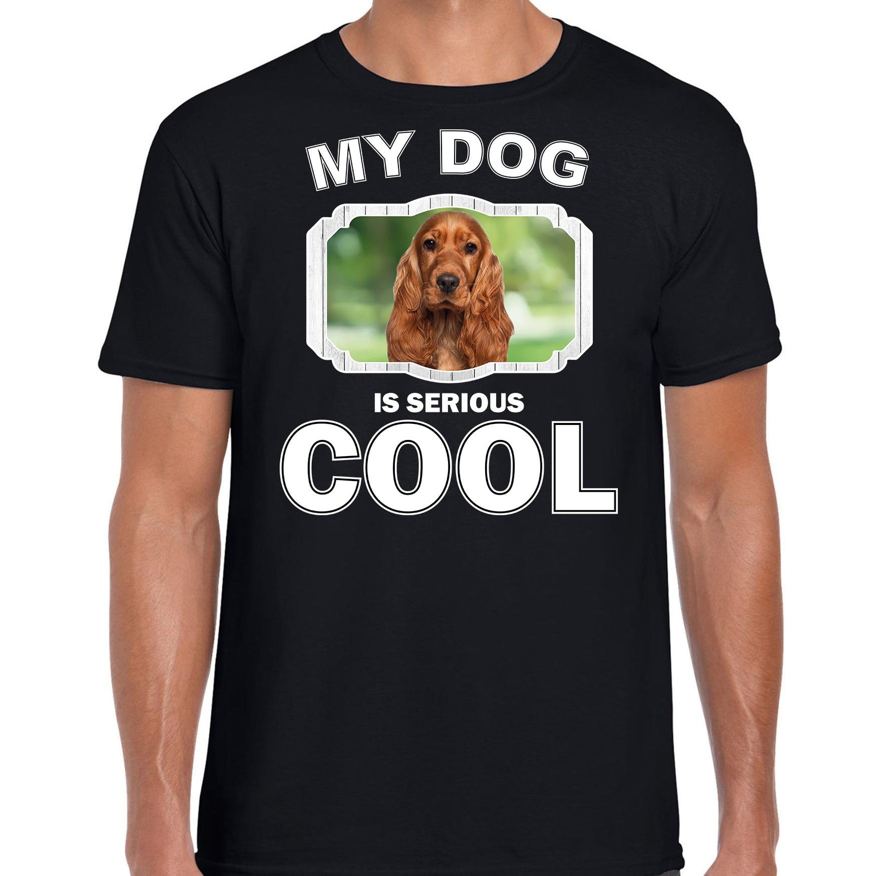 Honden liefhebber shirt Spaniel my dog is serious cool zwart voor heren
