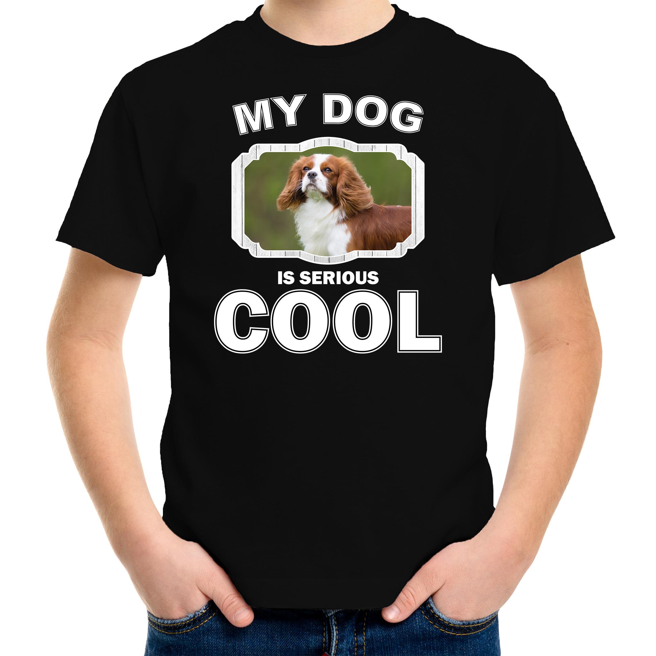 Honden liefhebber shirt Spaniel my dog is serious cool zwart voor kinderen