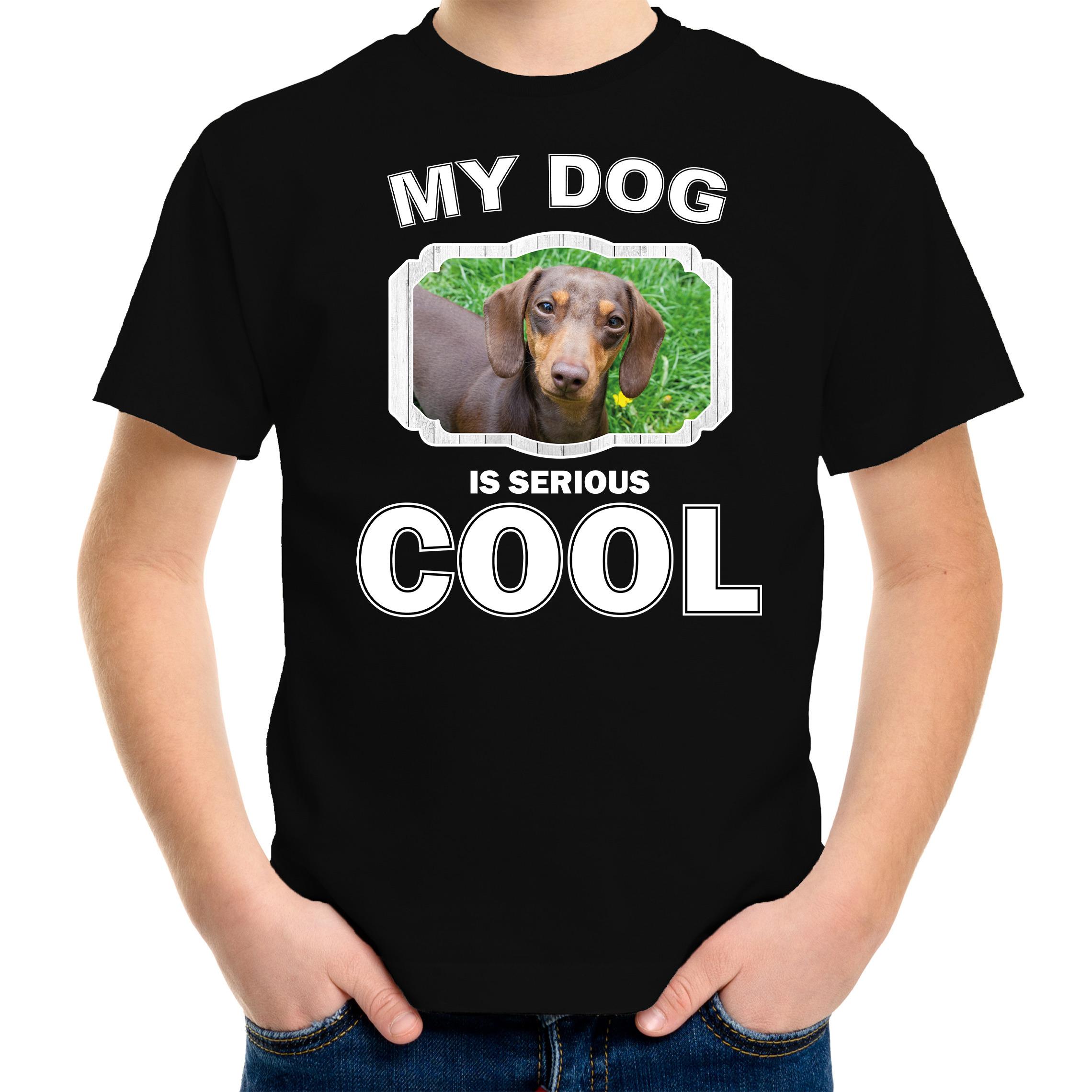 Honden liefhebber shirt Teckel my dog is serious cool zwart voor kinderen