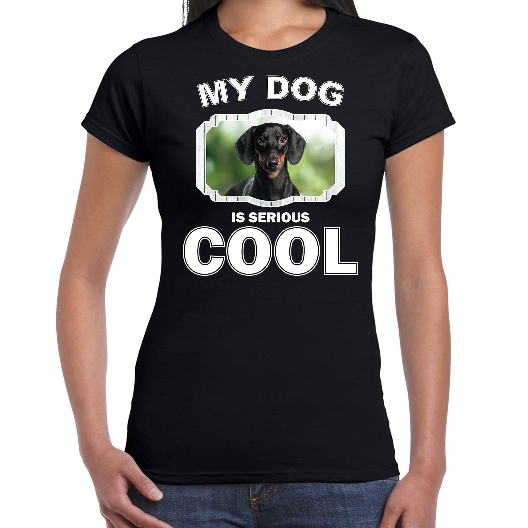 Honden liefhebber shirt teckels my dog is serious cool zwart voor dames
