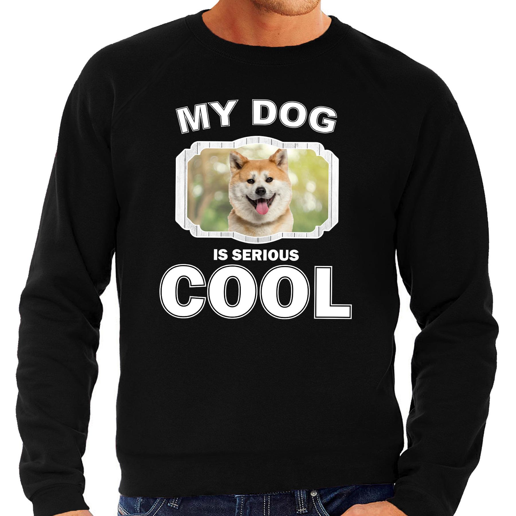 Honden liefhebber trui - sweater Akita inu my dog is serious cool zwart voor heren