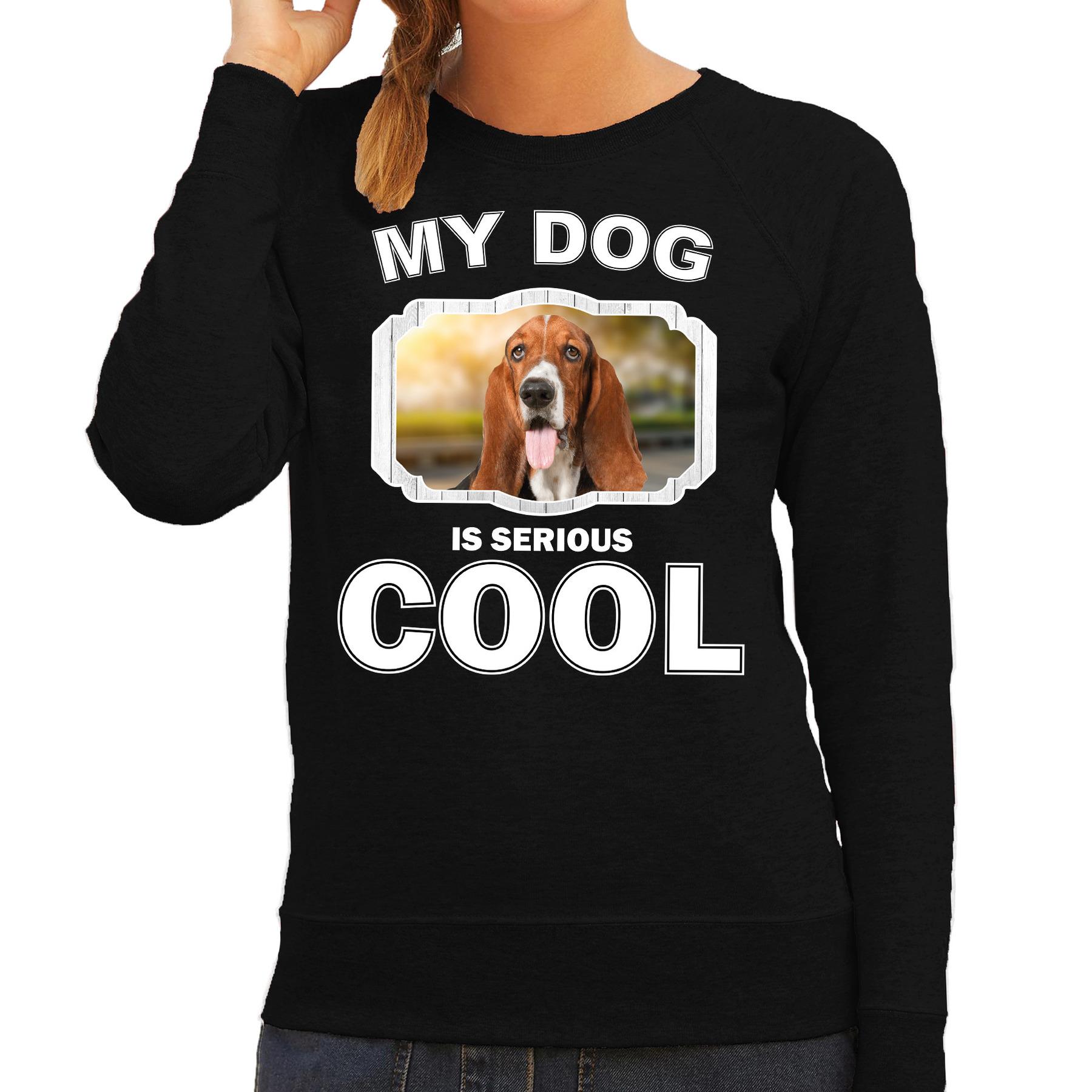 Honden liefhebber trui - sweater Basset my dog is serious cool zwart voor dames