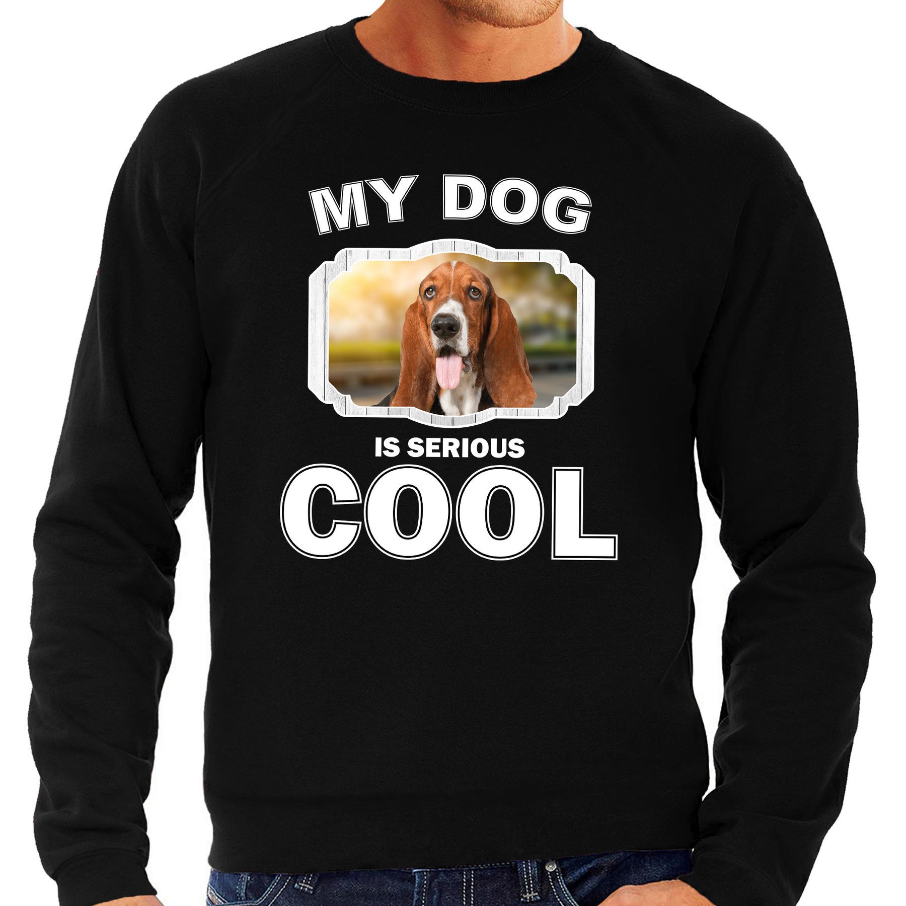 Honden liefhebber trui - sweater Basset my dog is serious cool zwart voor heren