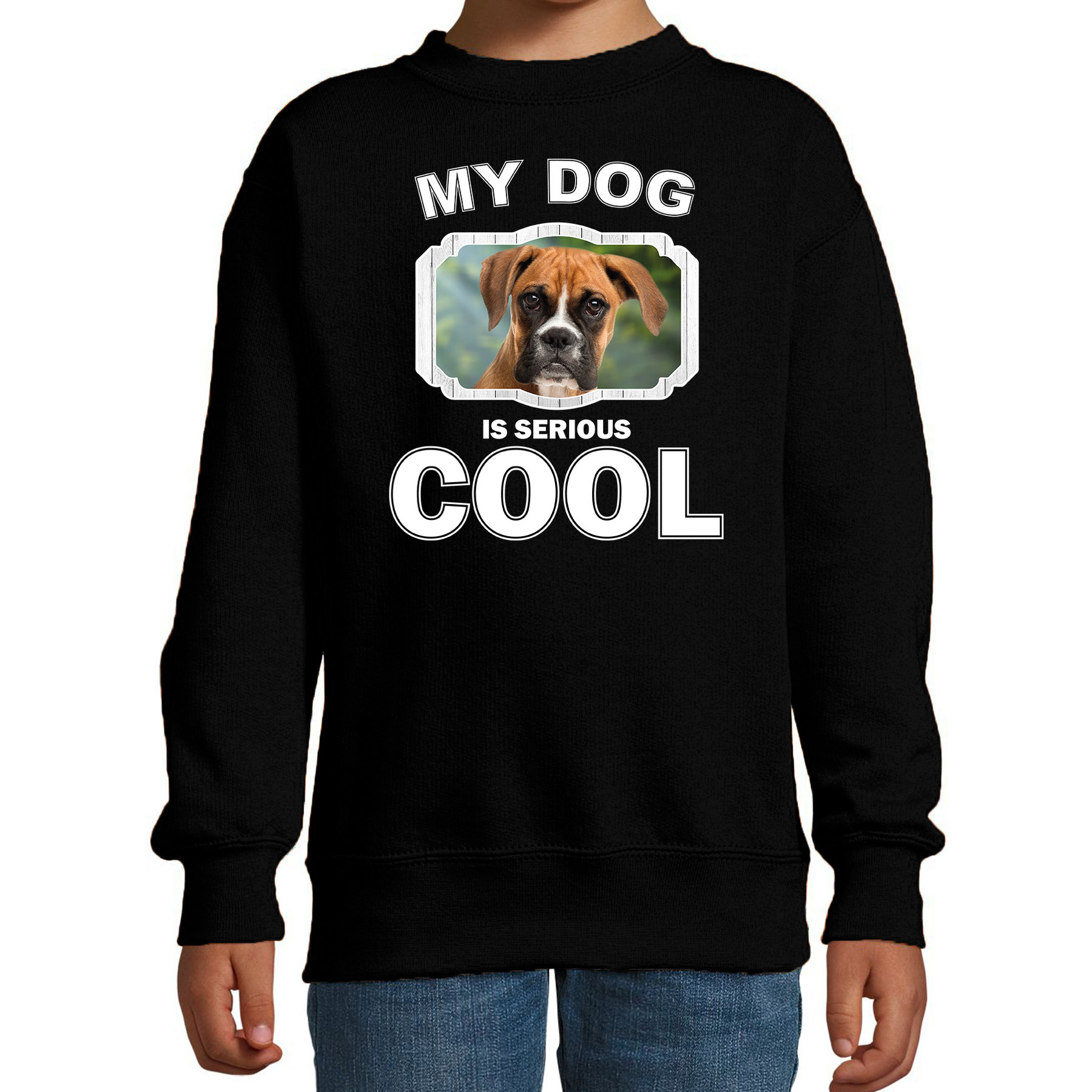 Honden liefhebber trui - sweater Boxer my dog is serious cool zwart voor kinderen