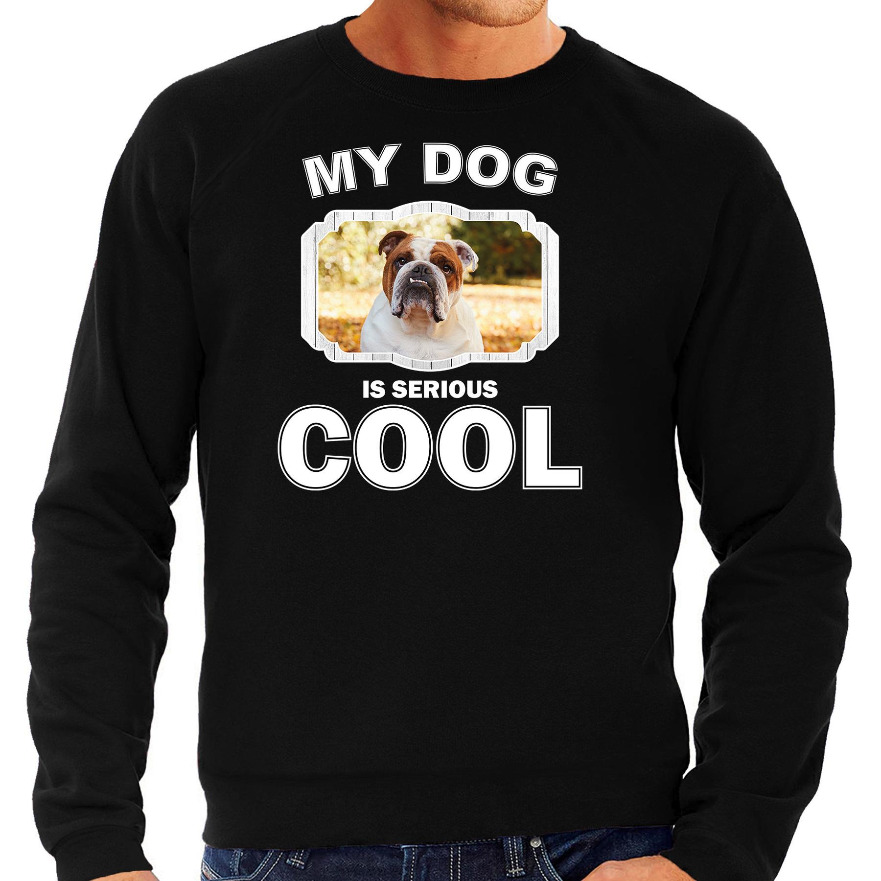 Honden liefhebber trui - sweater Britse bulldog my dog is serious cool zwart voor heren