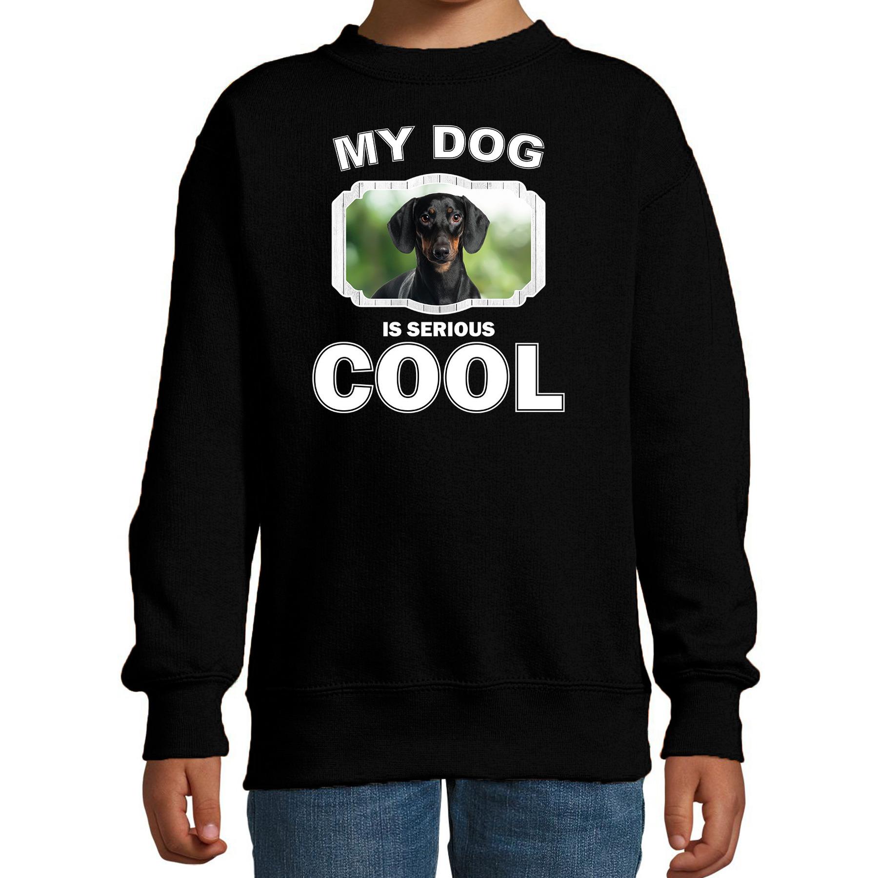 Honden liefhebber trui / sweater Coole teckel my dog is serious cool zwart voor kinderen