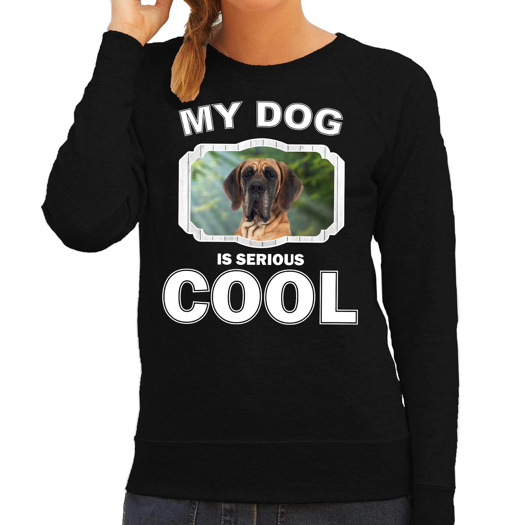 Honden liefhebber trui / sweater Deense dog my dog is serious cool zwart voor dames