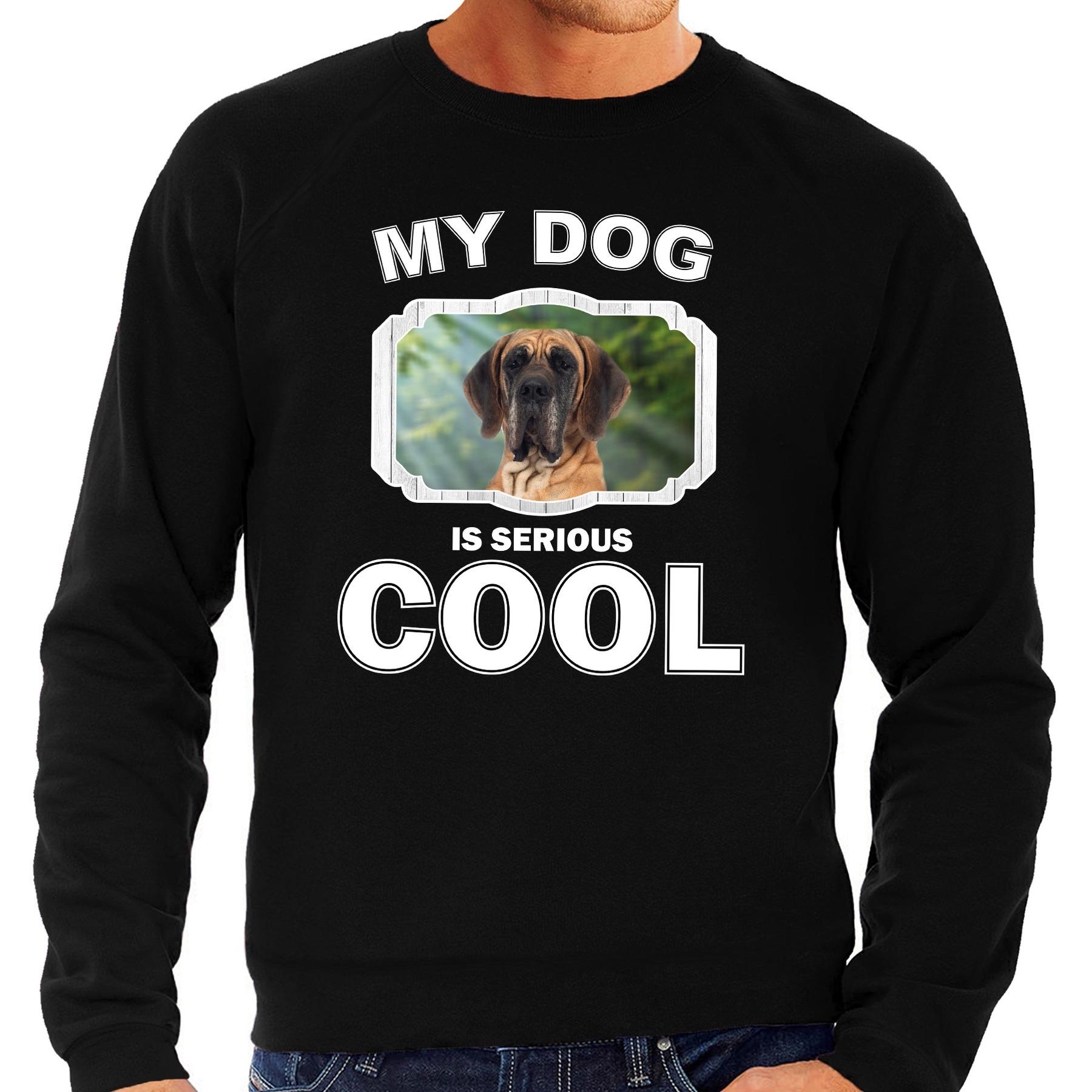 Honden liefhebber trui / sweater Deense dog my dog is serious cool zwart voor heren
