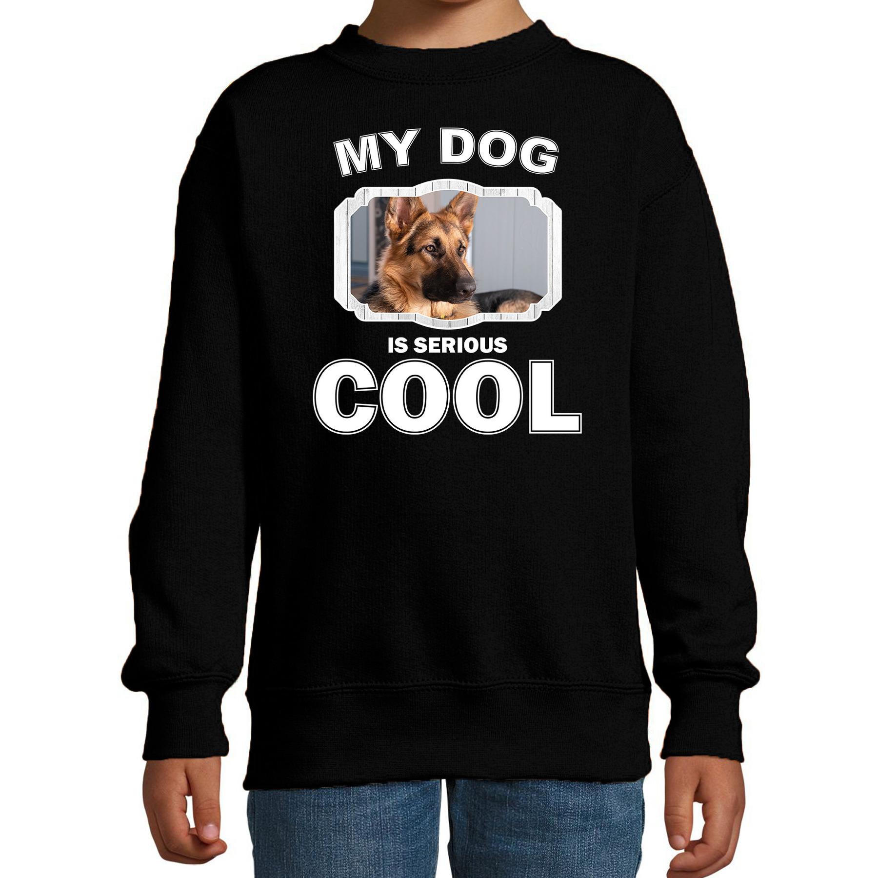 Honden liefhebber trui - sweater Duitse herder my dog is serious cool zwart voor kinderen