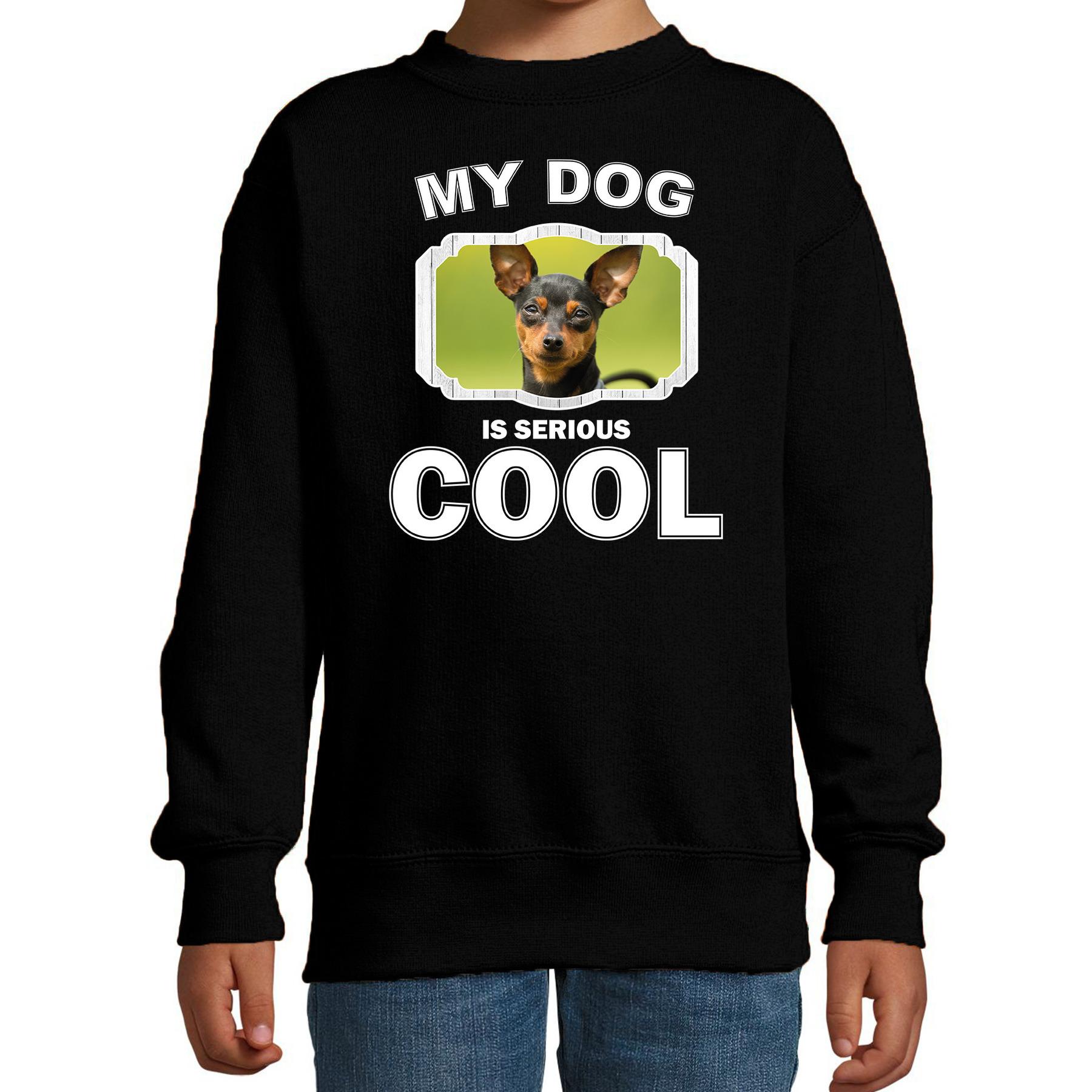 Honden liefhebber trui - sweater Dwergpinscher my dog is serious cool zwart voor kinderen