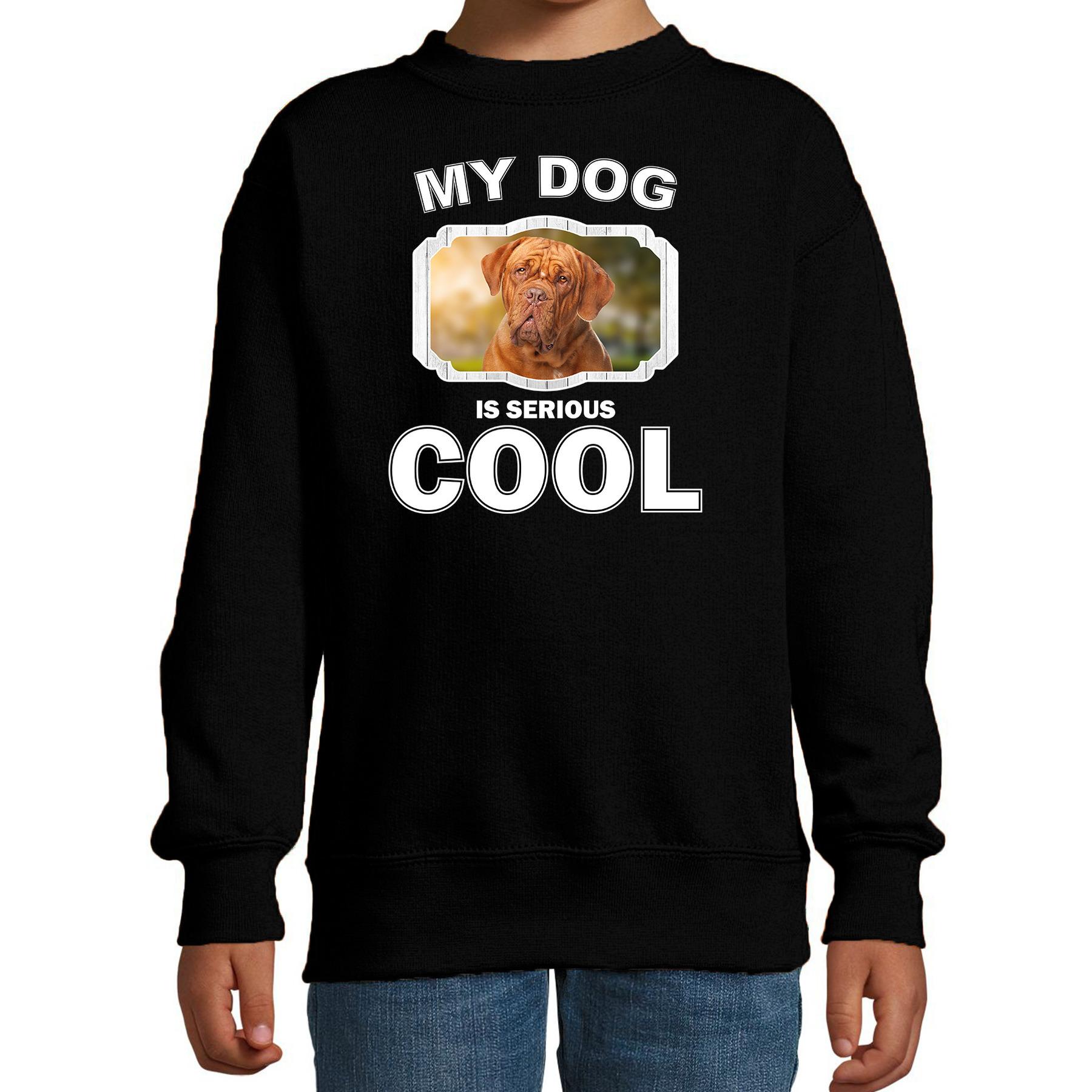Honden liefhebber trui / sweater Franse mastiff my dog is serious cool zwart voor kinderen