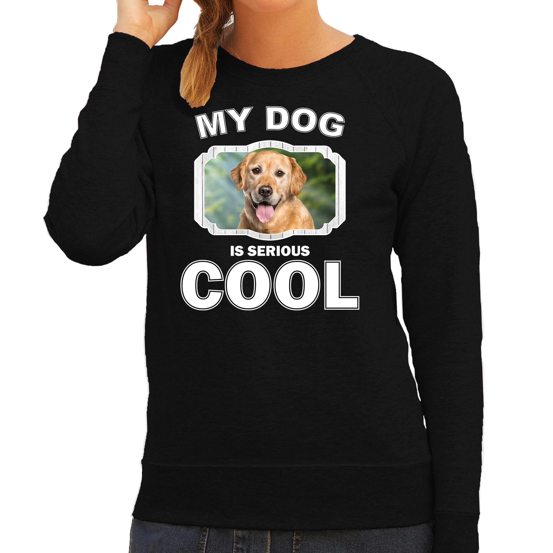 Honden liefhebber trui / sweater Golden retriever my dog is serious cool zwart voor dames