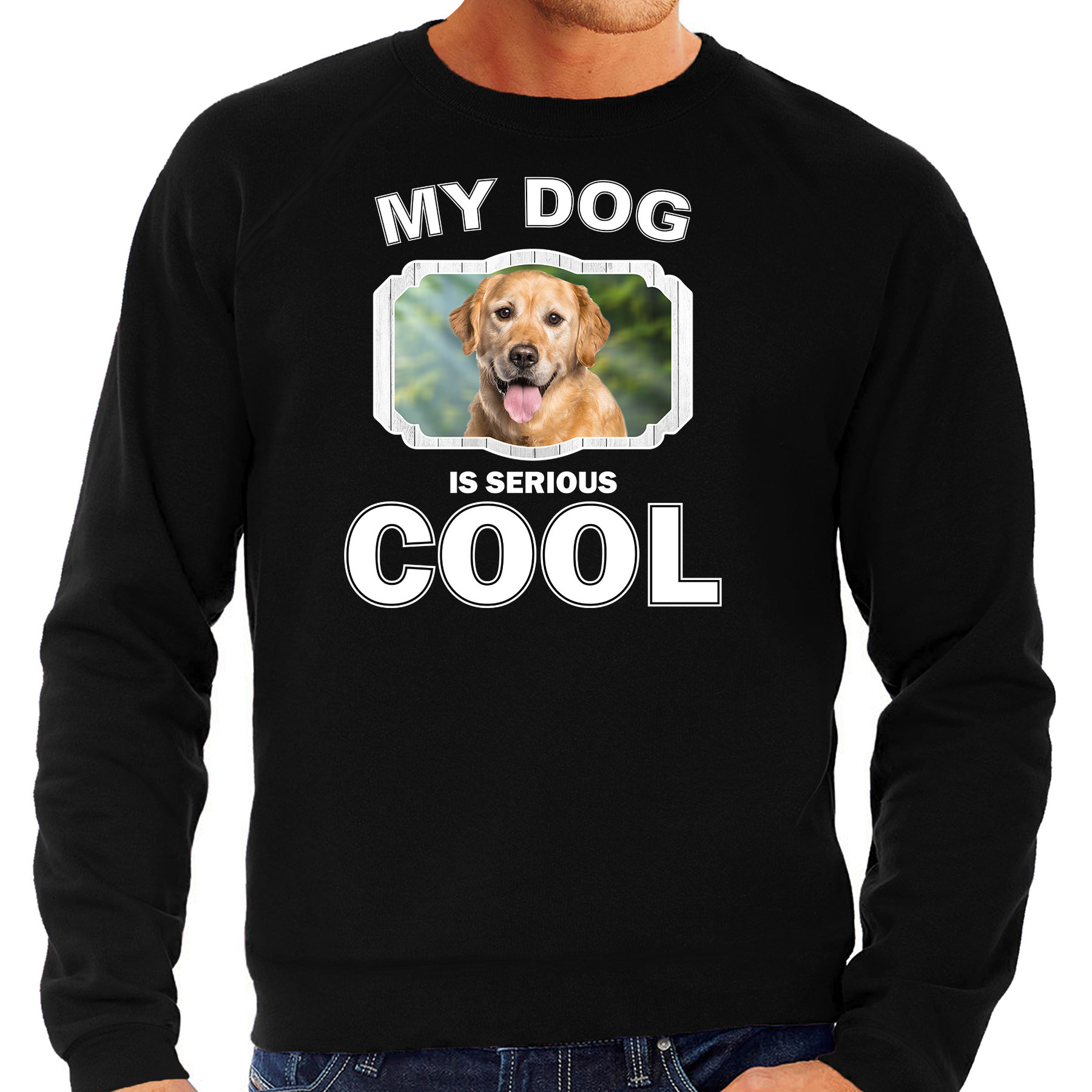 Honden liefhebber trui / sweater Golden retriever my dog is serious cool zwart voor heren