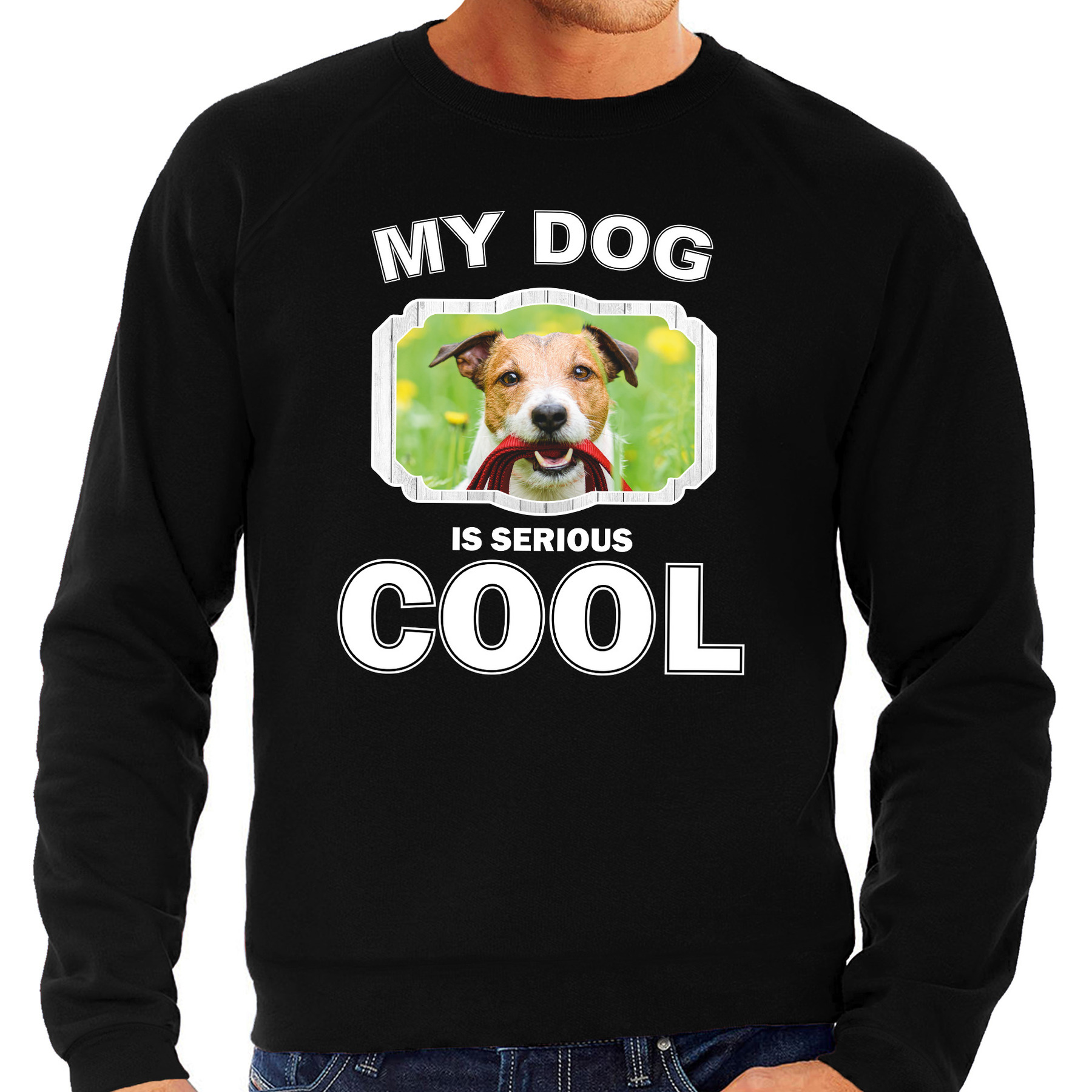 Honden liefhebber trui - sweater Jack russel my dog is serious cool zwart voor heren