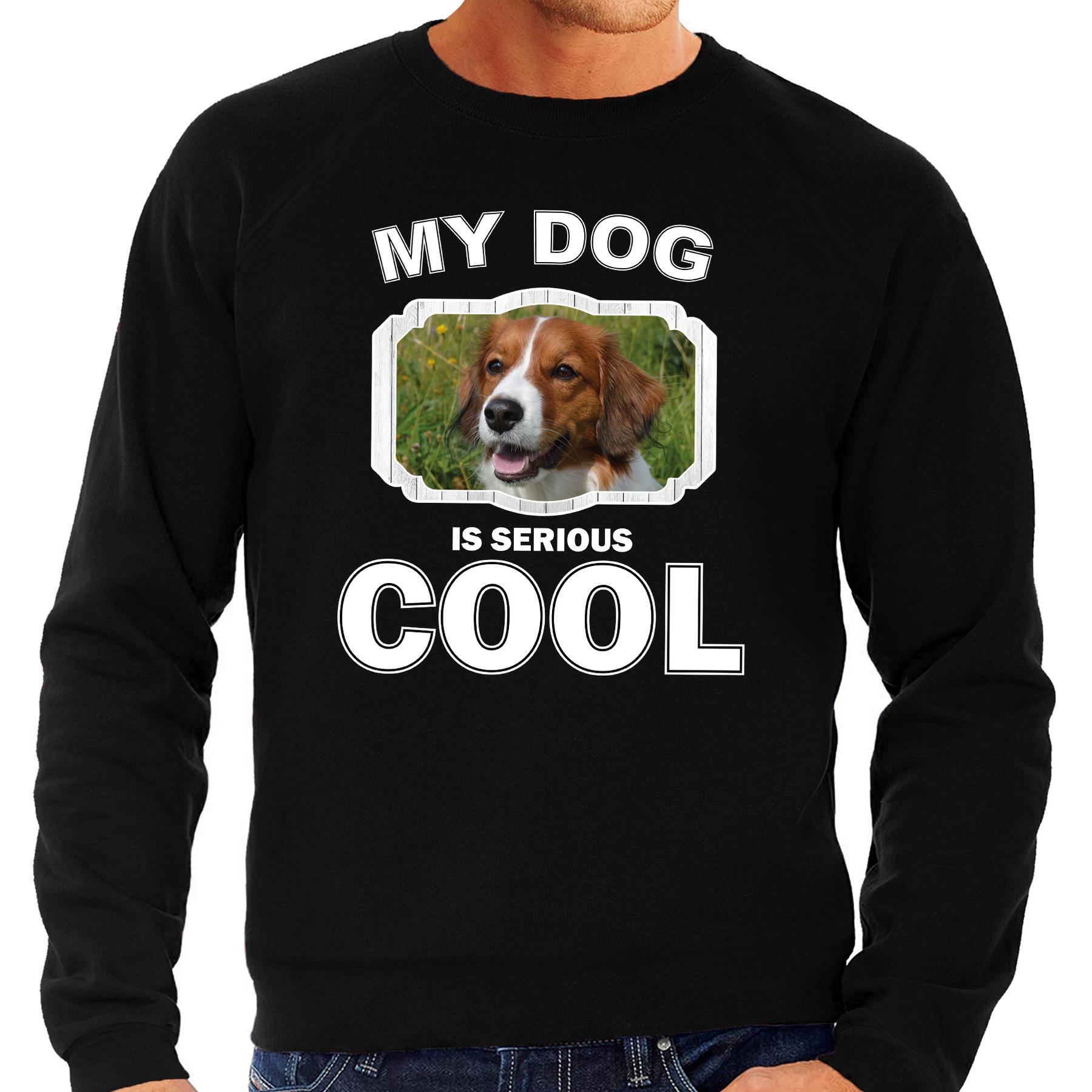 Honden liefhebber trui - sweater Kooiker my dog is serious cool zwart voor heren