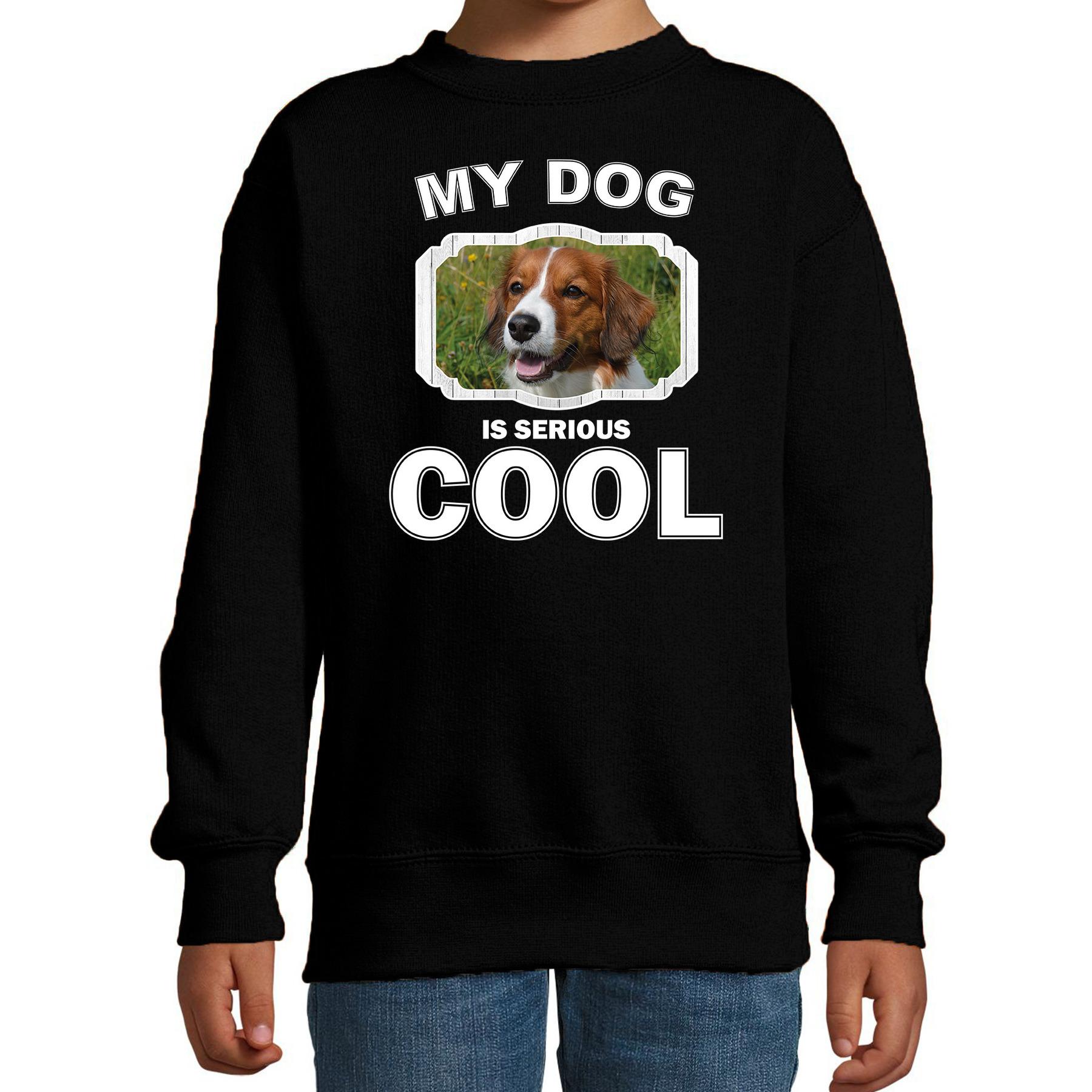 Honden liefhebber trui - sweater Kooiker my dog is serious cool zwart voor kinderen