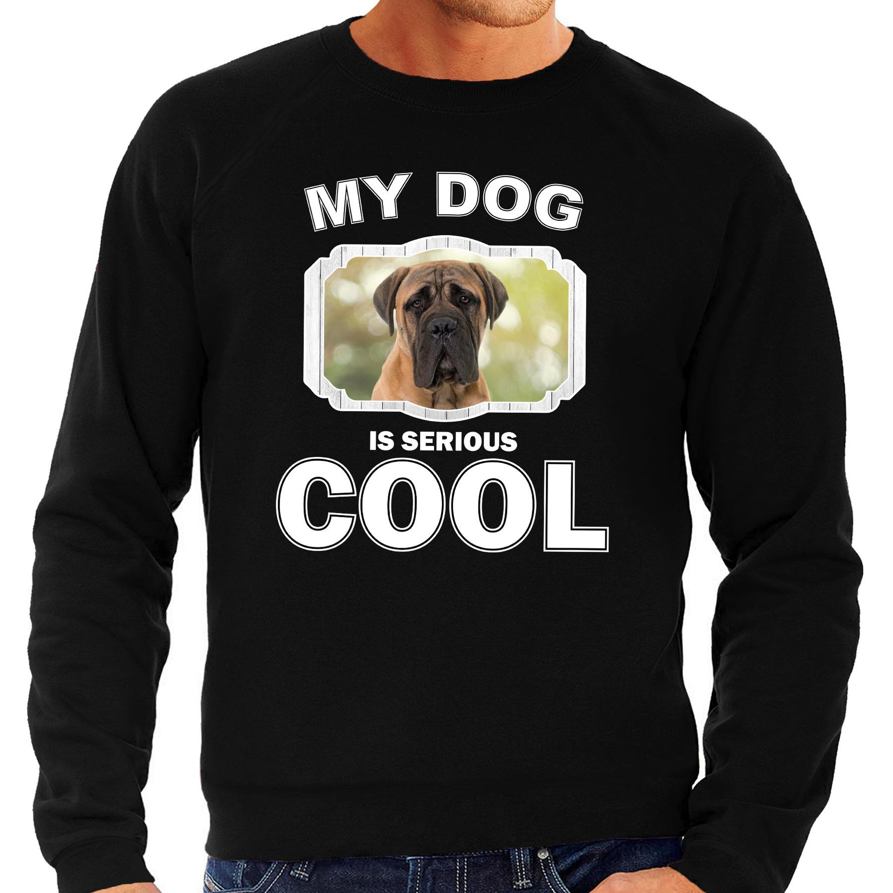 Honden liefhebber trui / sweater Mastiff my dog is serious cool zwart voor heren