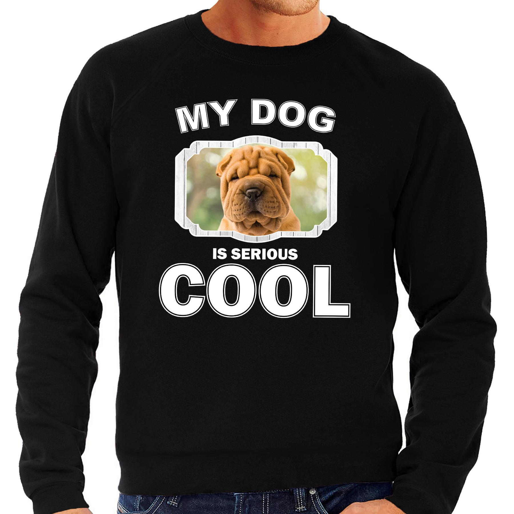 Honden liefhebber trui / sweater Shar pei my dog is serious cool zwart voor heren
