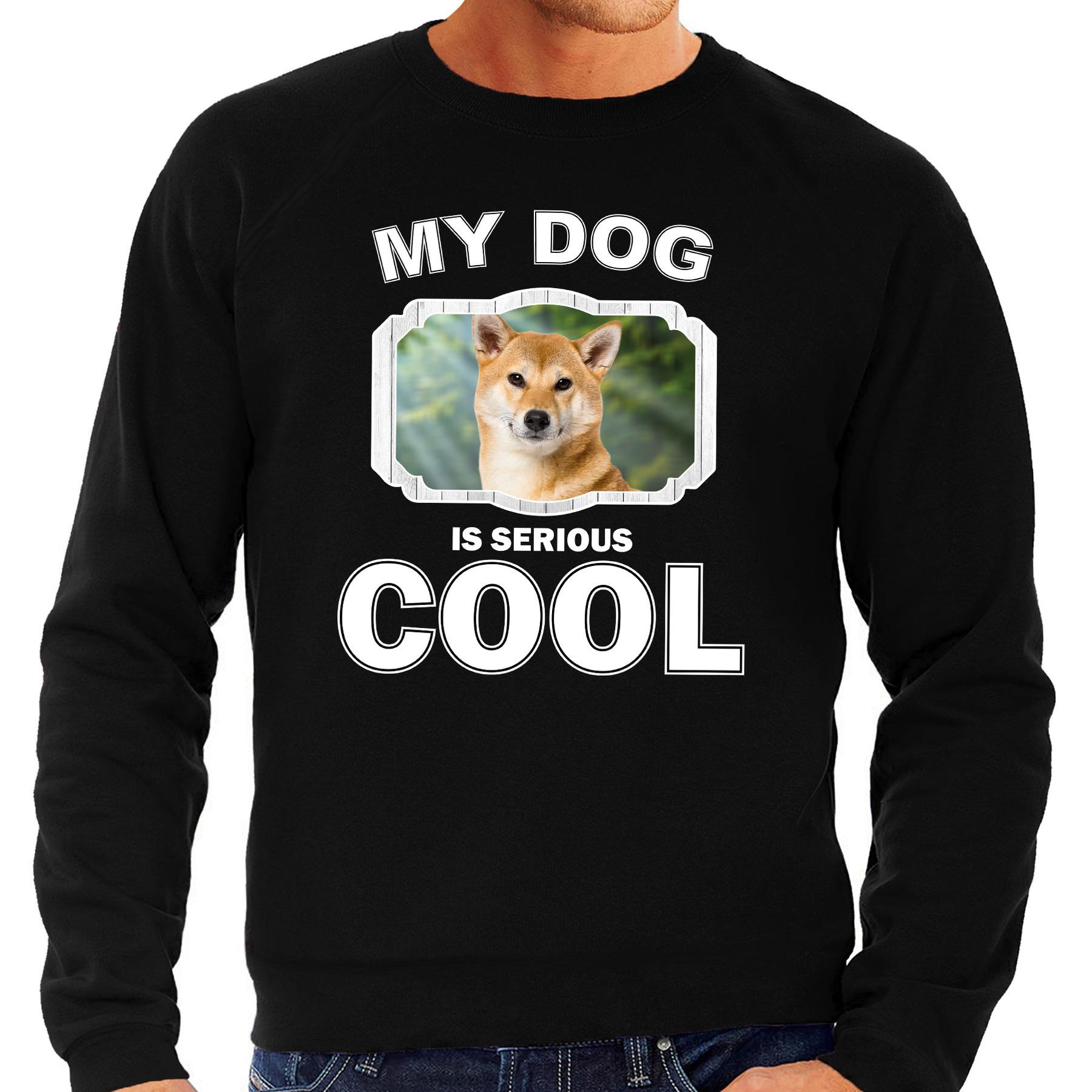 Honden liefhebber trui - sweater Shiba inu my dog is serious cool zwart voor heren