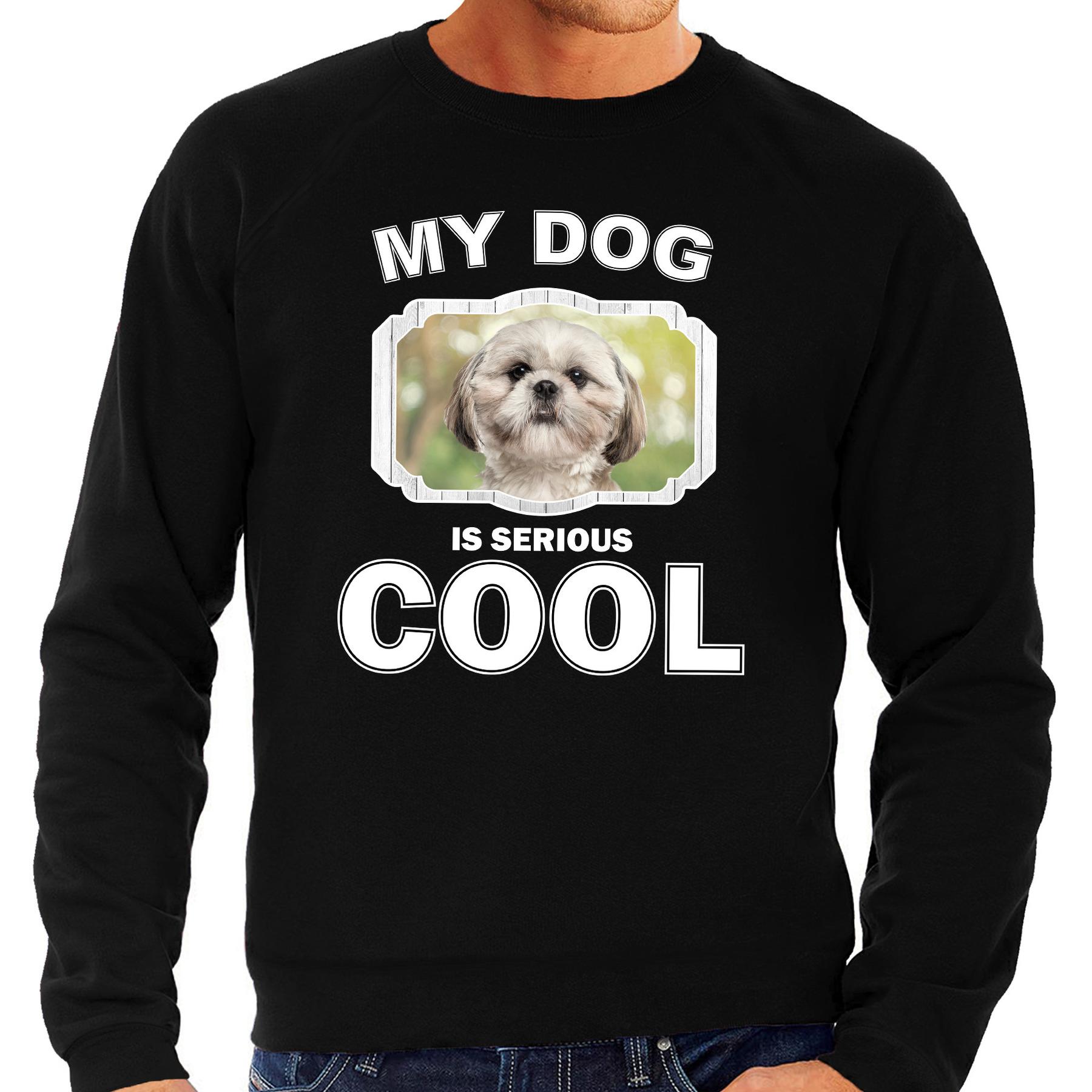 Honden liefhebber trui - sweater Shih tzu my dog is serious cool zwart voor heren