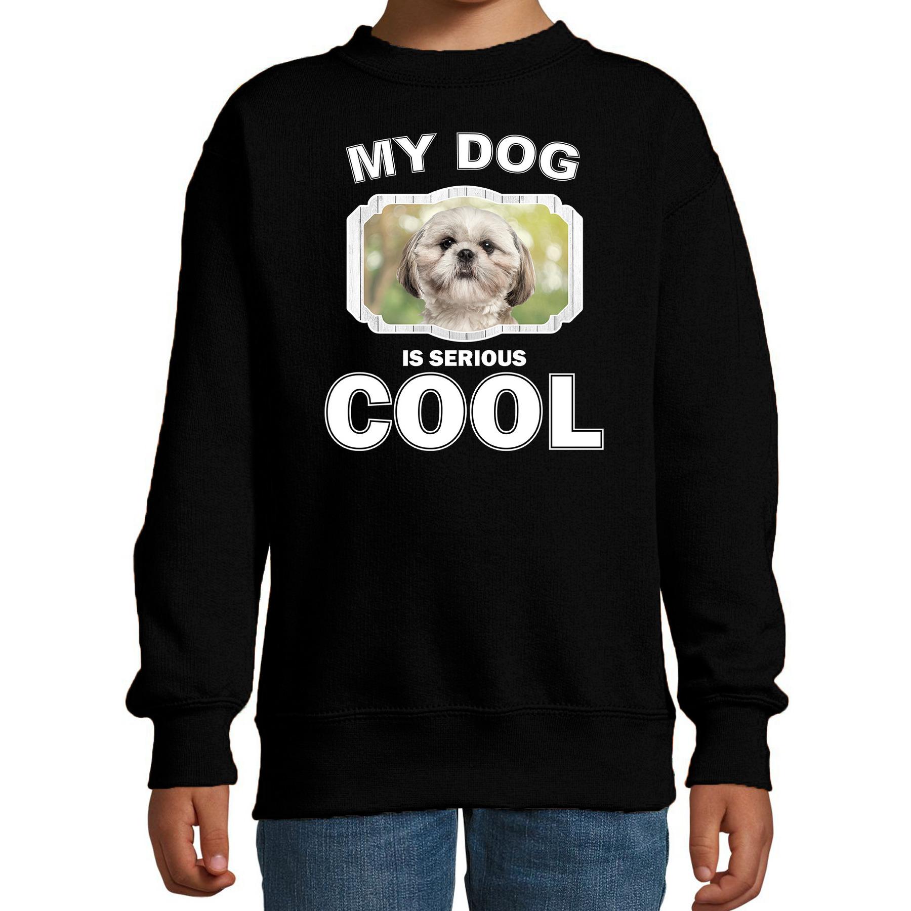 Honden liefhebber trui - sweater Shih tzu my dog is serious cool zwart voor kinderen
