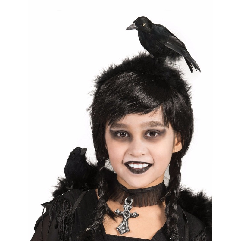Horror verkleed diadeem met zwarte kraai op je hoofd