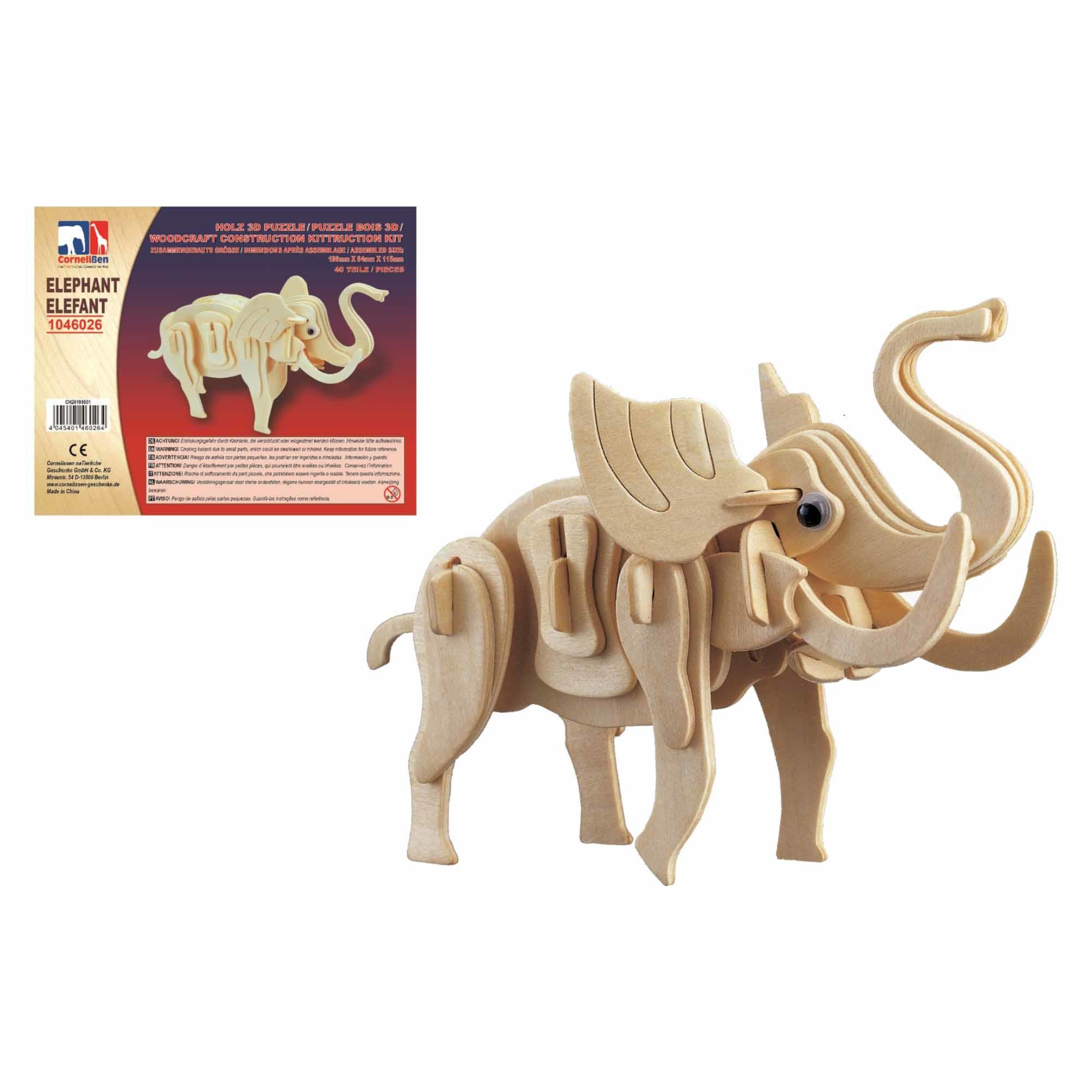 Houten dieren 3d puzzel olifant bouwpakket 20 cm