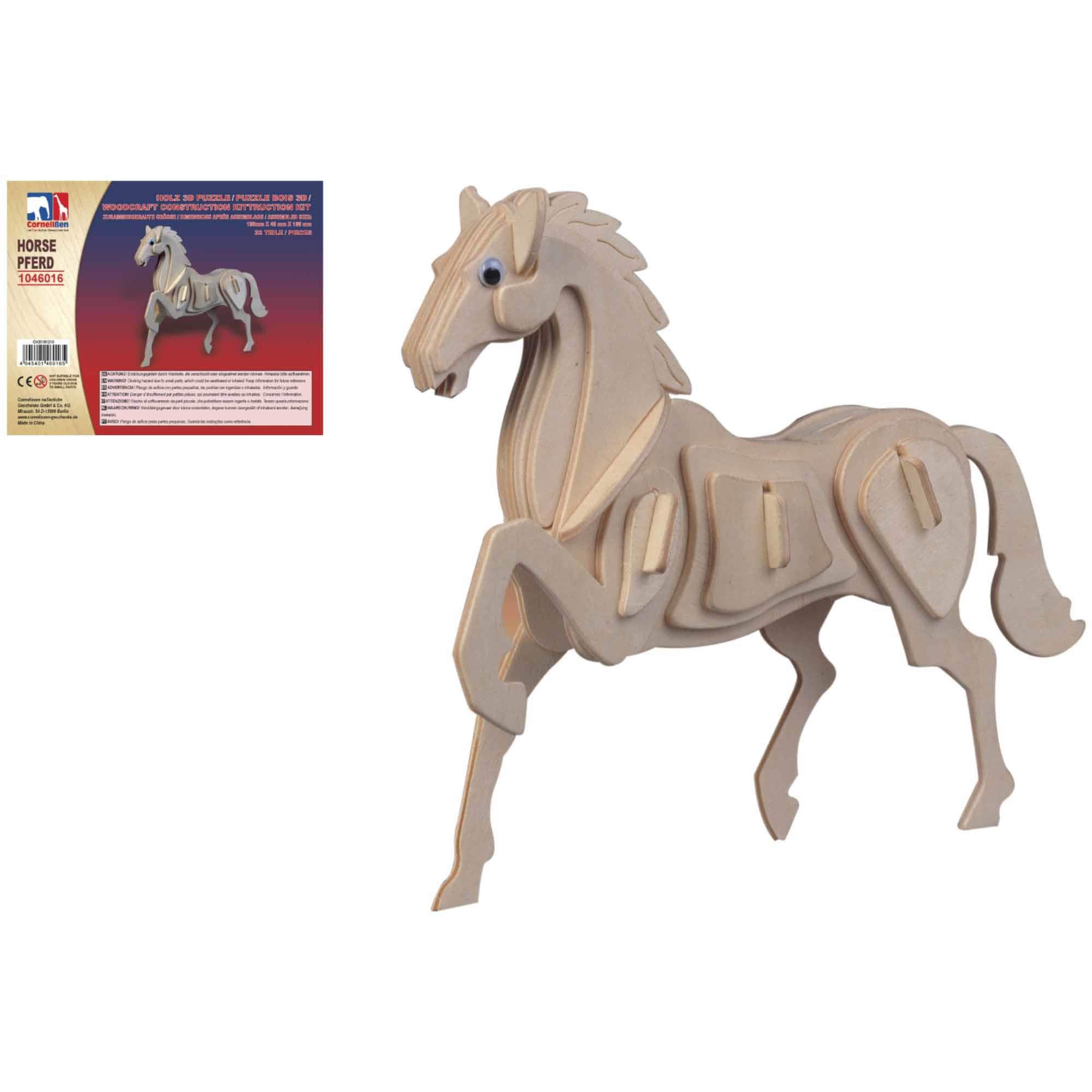 Houten dieren 3d puzzel paard bouwpakket 20 cm