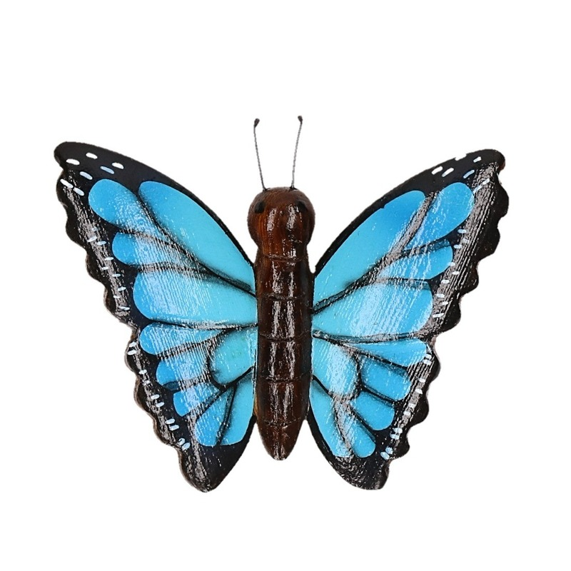 Houten magneet in de vorm van een blauwe vlinder