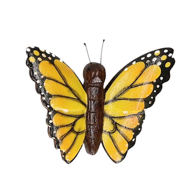 Houten magneet in de vorm van een gele vlinder