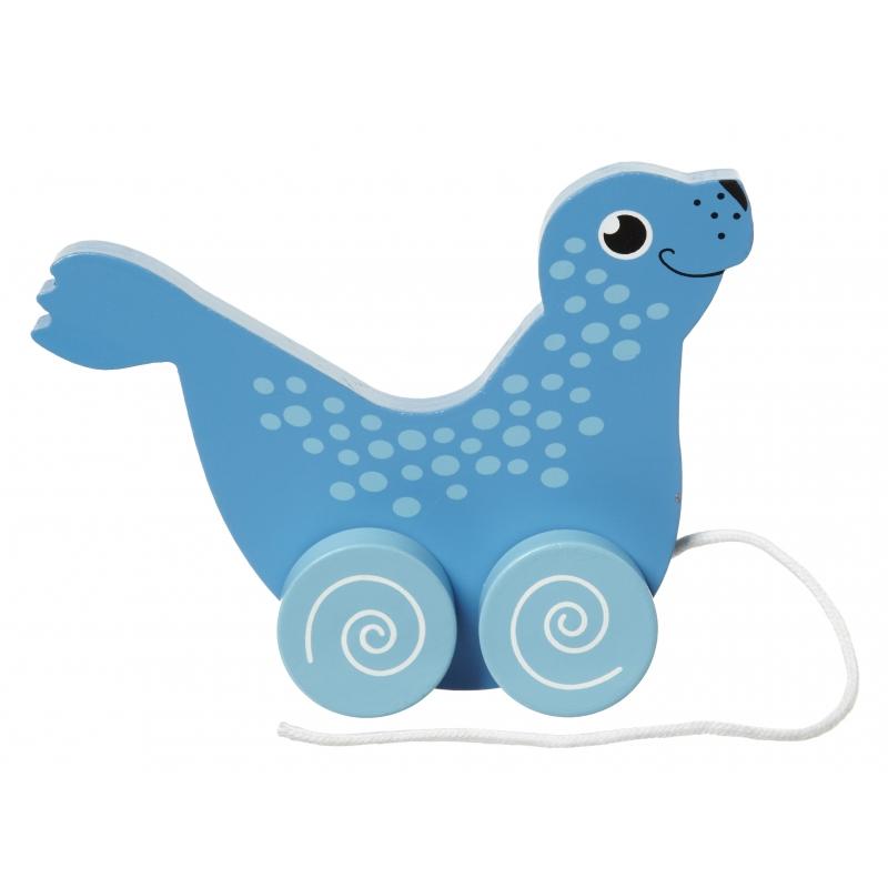 Houten trekdiertje zeehond 13 cm