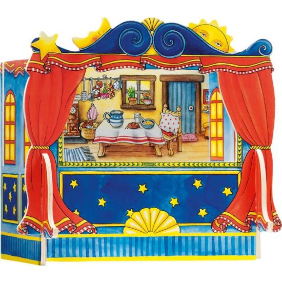 Houten vingerpoppen theater