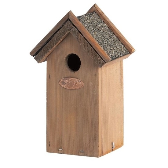 Houten vogelhuisje/ nestkastje met bitumen punt dakje 16 x 22 cm